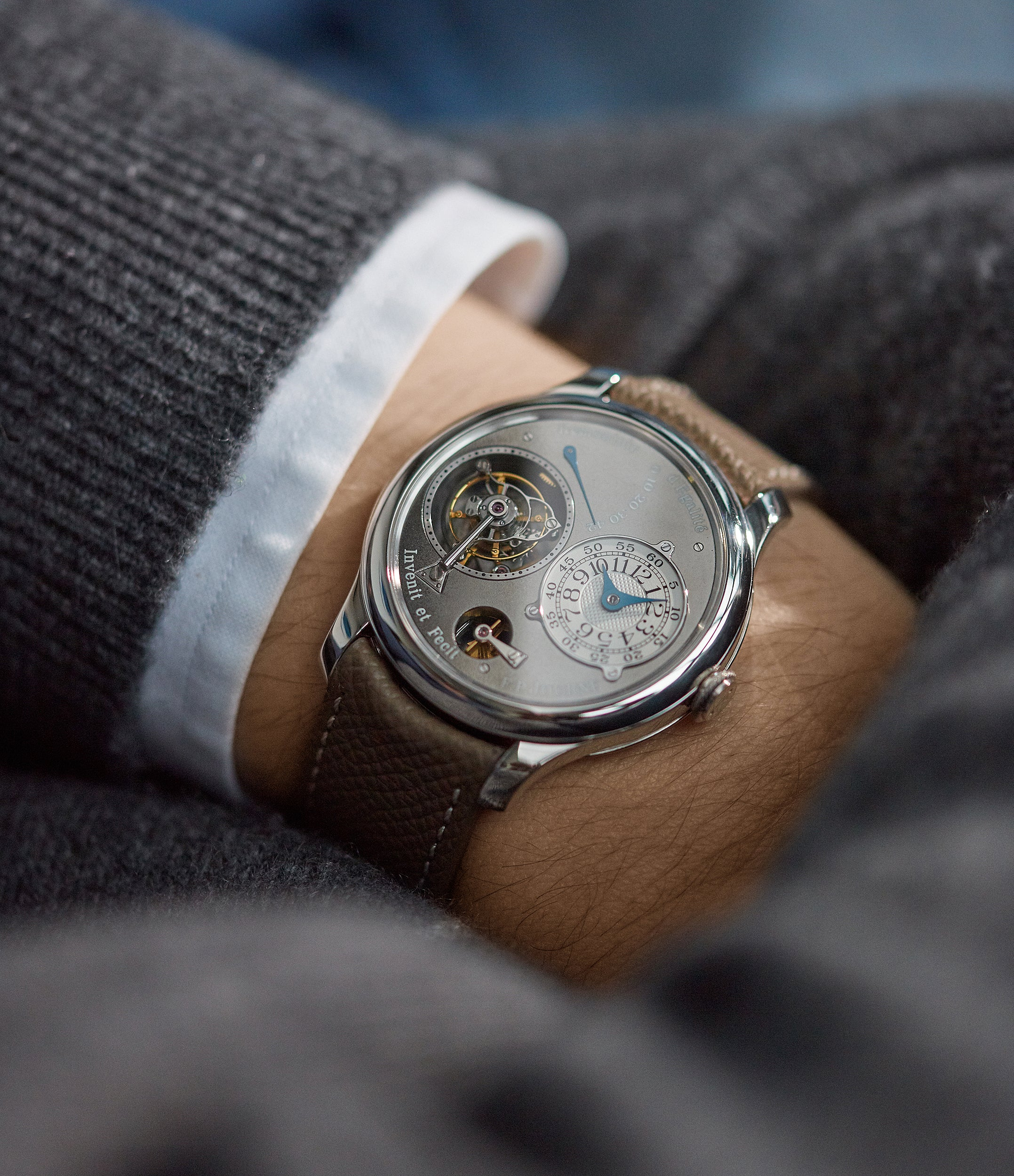 shop pre-owned F. P. Journe Tourbillon Remontoire Souverain rhutenium dial brass movement pre-owned watch at A Collected Man London specialist independent watchmakers