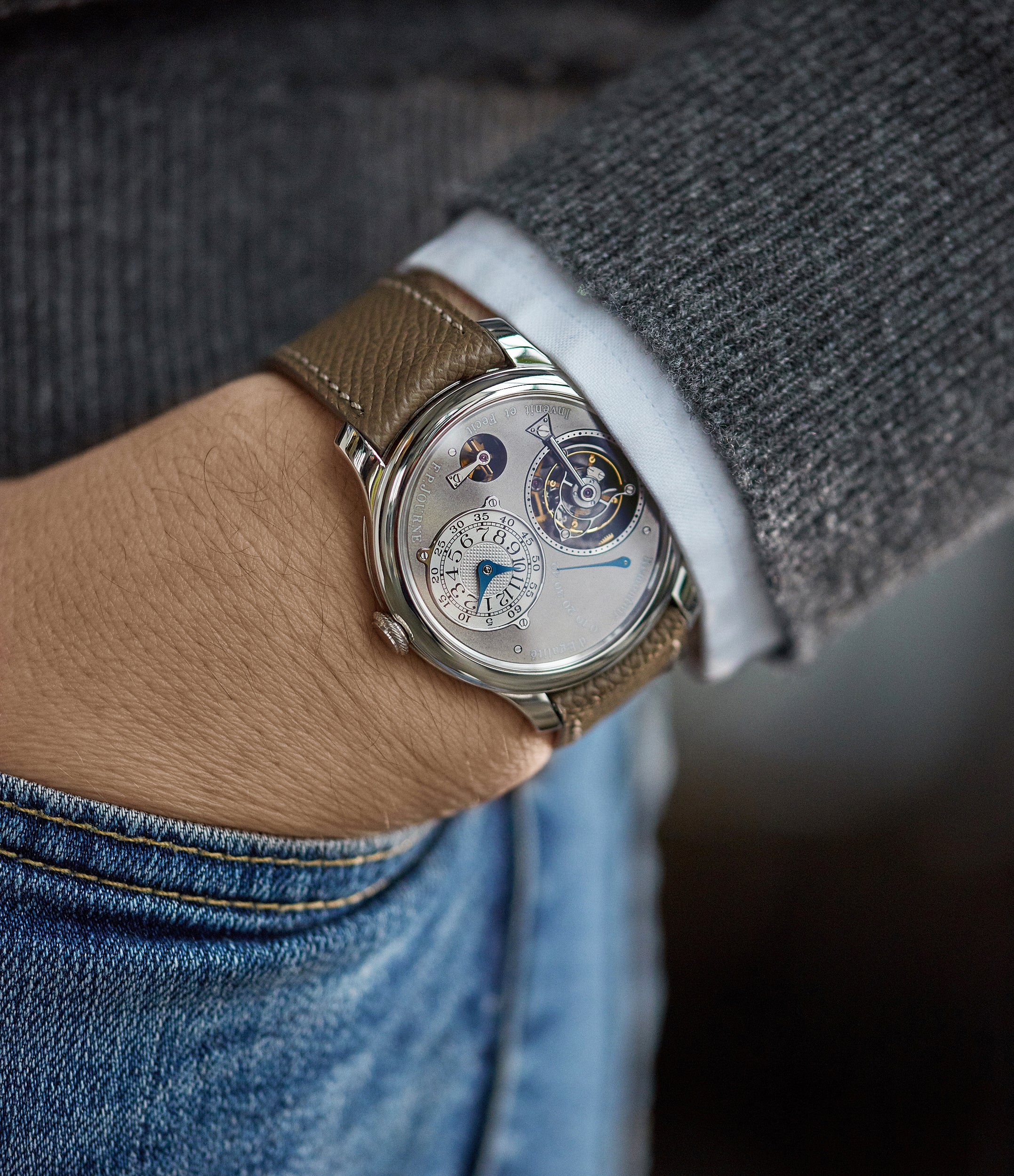 wristwatch Journe Tourbillon Remontoire Souverain rhutenium dial brass movement pre-owned watch at A Collected Man London specialist independent watchmakers