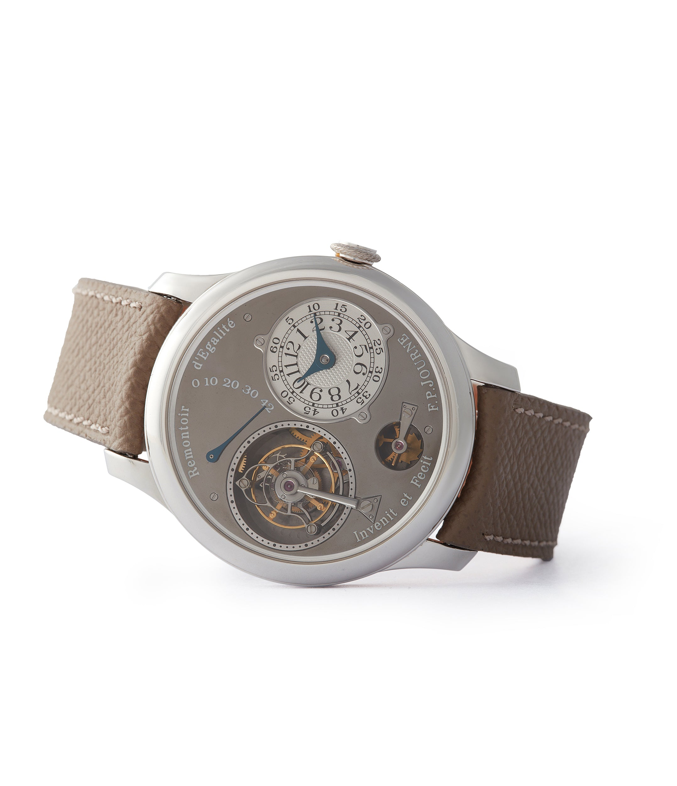 side-shot grey rhutenium dial F. P. Journe Tourbillon Remontoire Souverain brass movement pre-owned watch at A Collected Man London specialist independent watchmakers