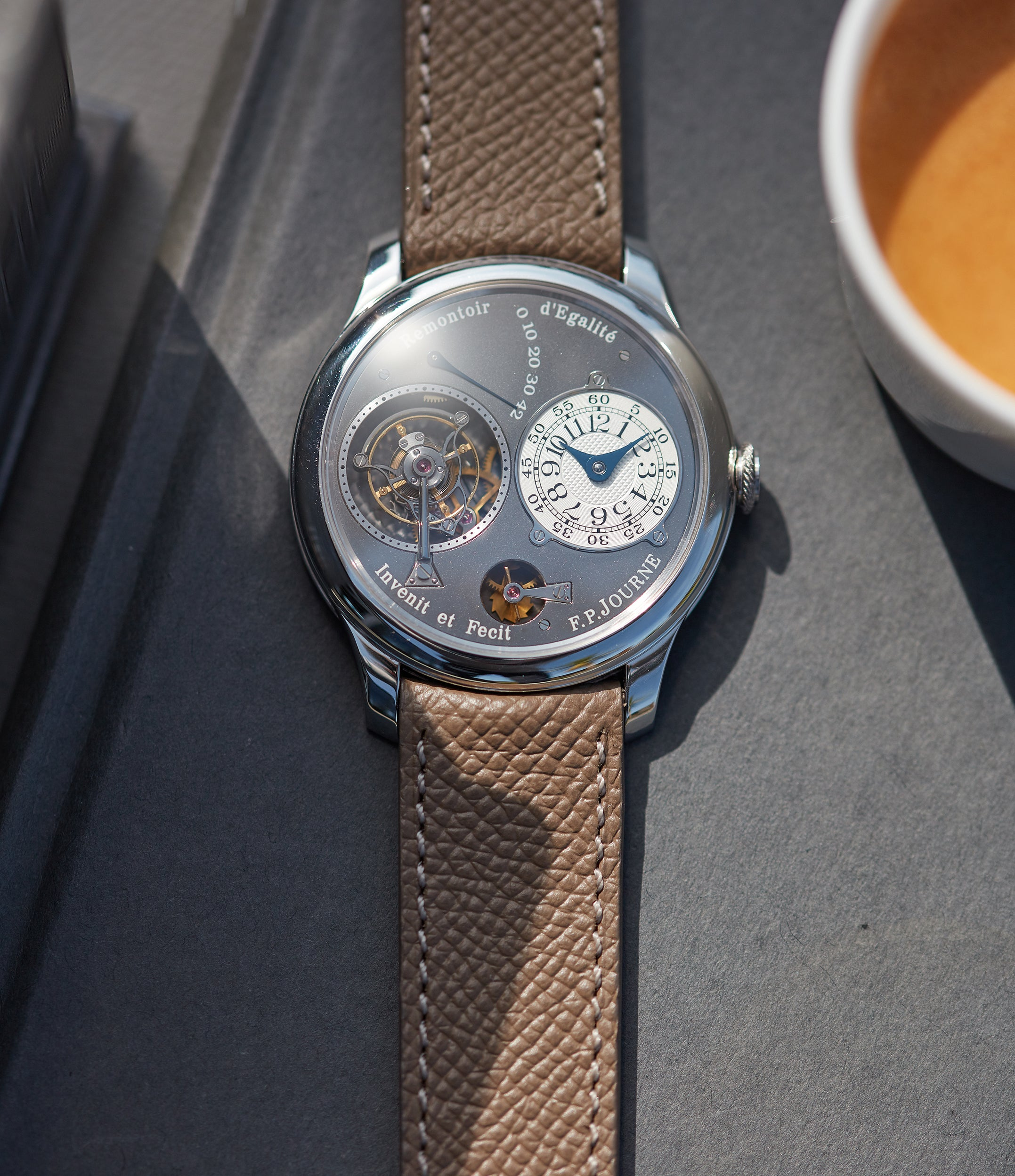 independent watchmaker F. P. Journe Tourbillon Remontoire Souverain rhutenium dial brass movement pre-owned watch at A Collected Man London specialist rare timepieces