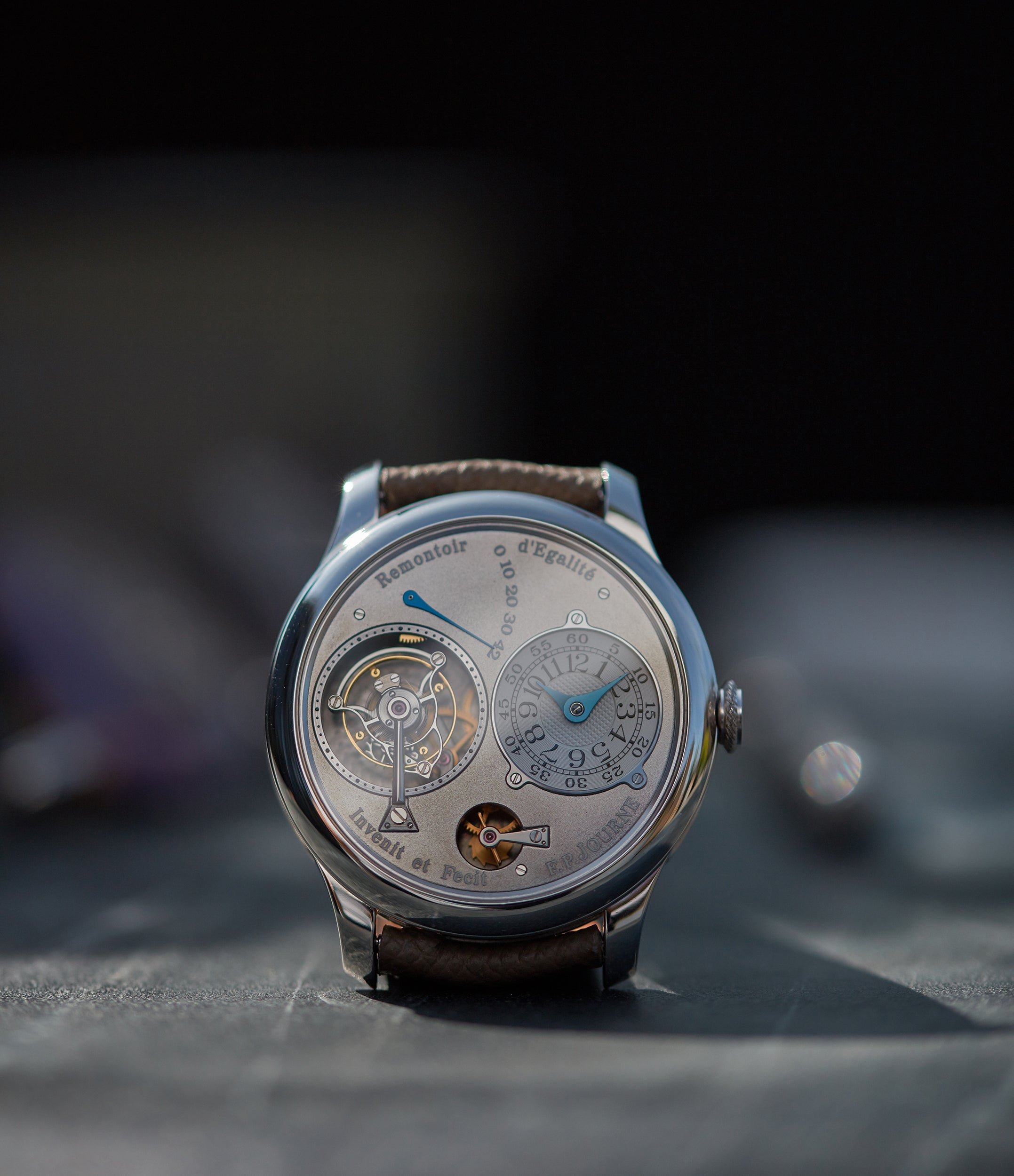 rare F. P. Journe Tourbillon Remontoire Souverain rhutenium dial brass movement pre-owned watch at A Collected Man London specialist independent watchmakers