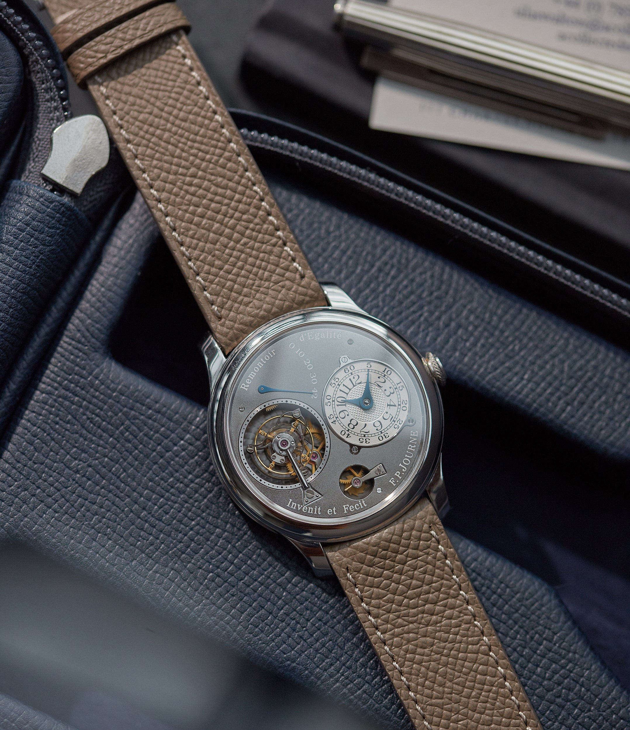selling F. P. Journe Tourbillon Remontoire Souverain rhutenium dial brass movement pre-owned watch at A Collected Man London specialist independent watchmakers