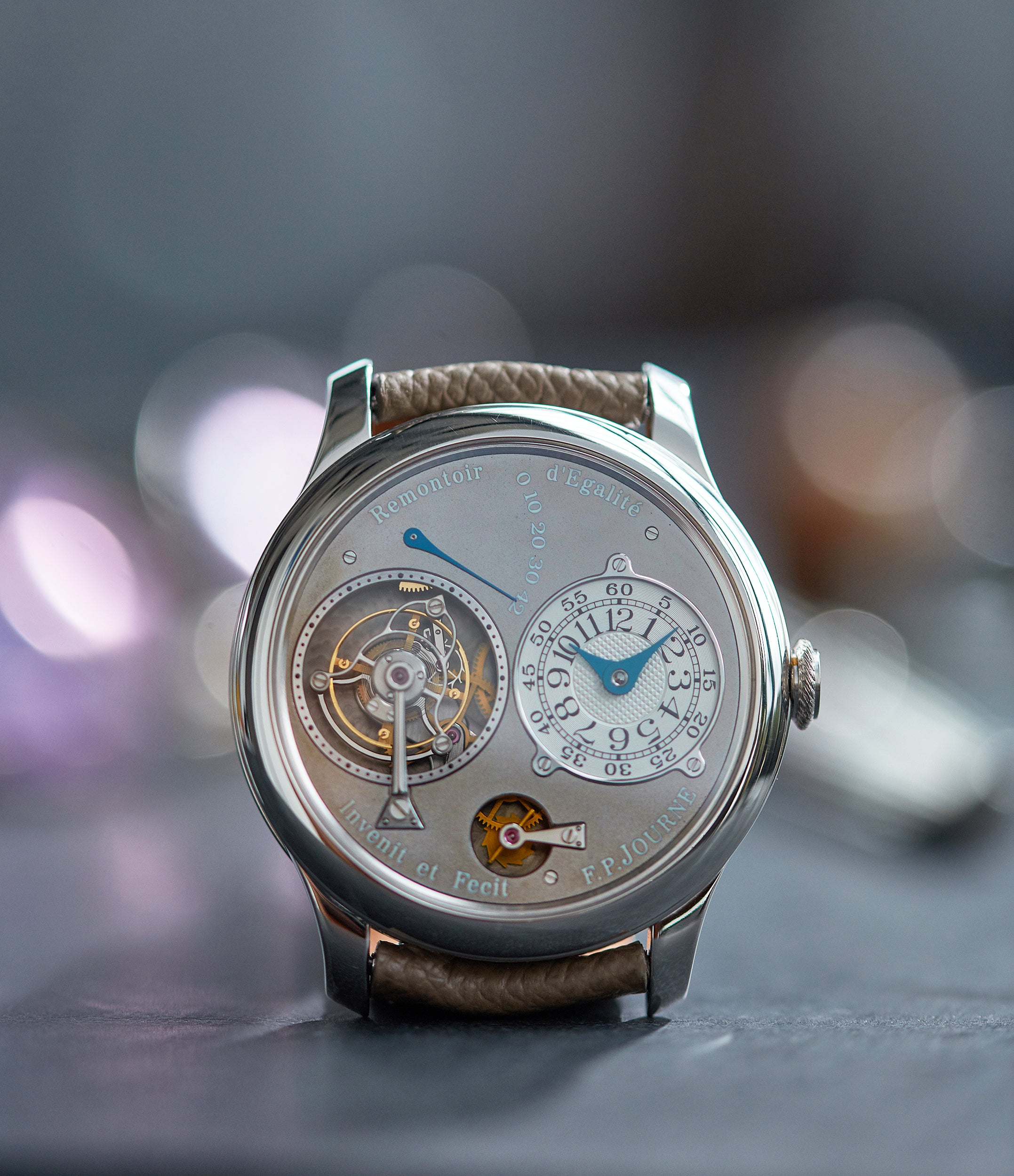 Tourbillon Remontoire Souverain F. P. Journe rhutenium dial brass movement pre-owned watch at A Collected Man London specialist independent watchmakers