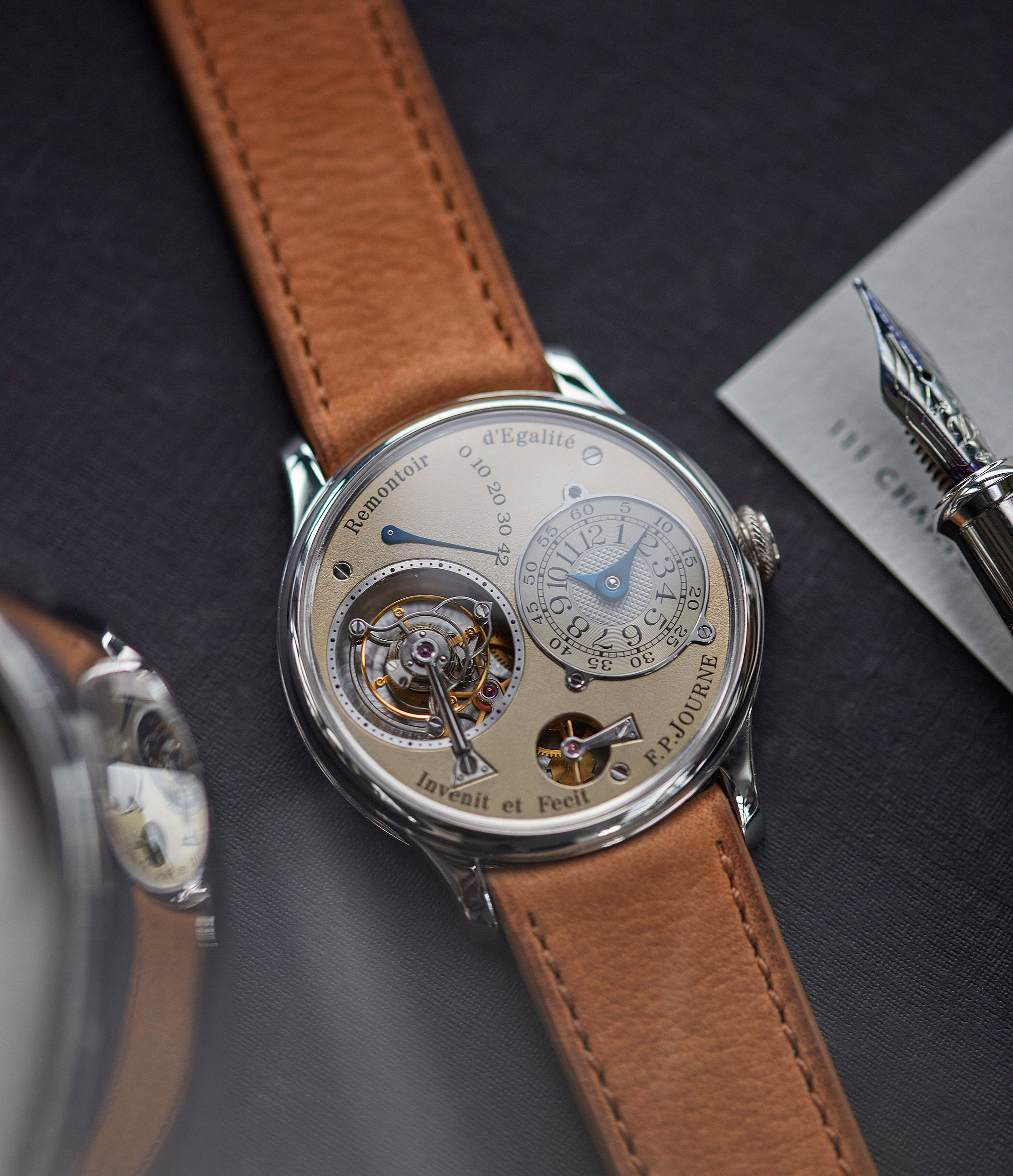 Journe Chronometre Tourbillon early brass movement 38mm platinum dress watch for sale online A Collected Man London specialist independent watchmakers