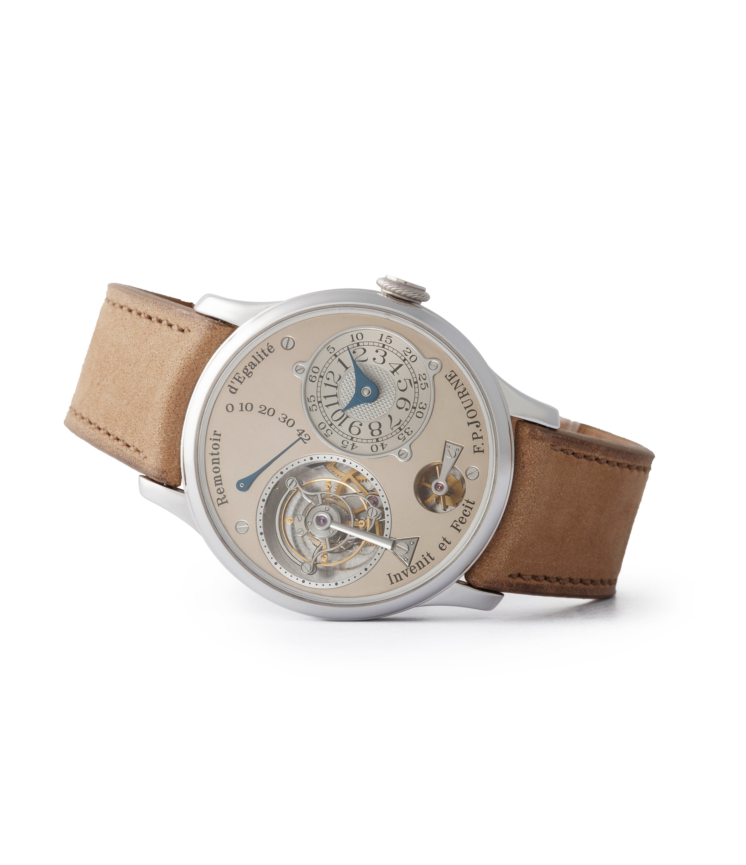 side-shot consign F. P. Journe Chronometre A Tourbillon early brass movement 38mm platinum dress watch for sale online A Collected Man London specialist independent watchmakers