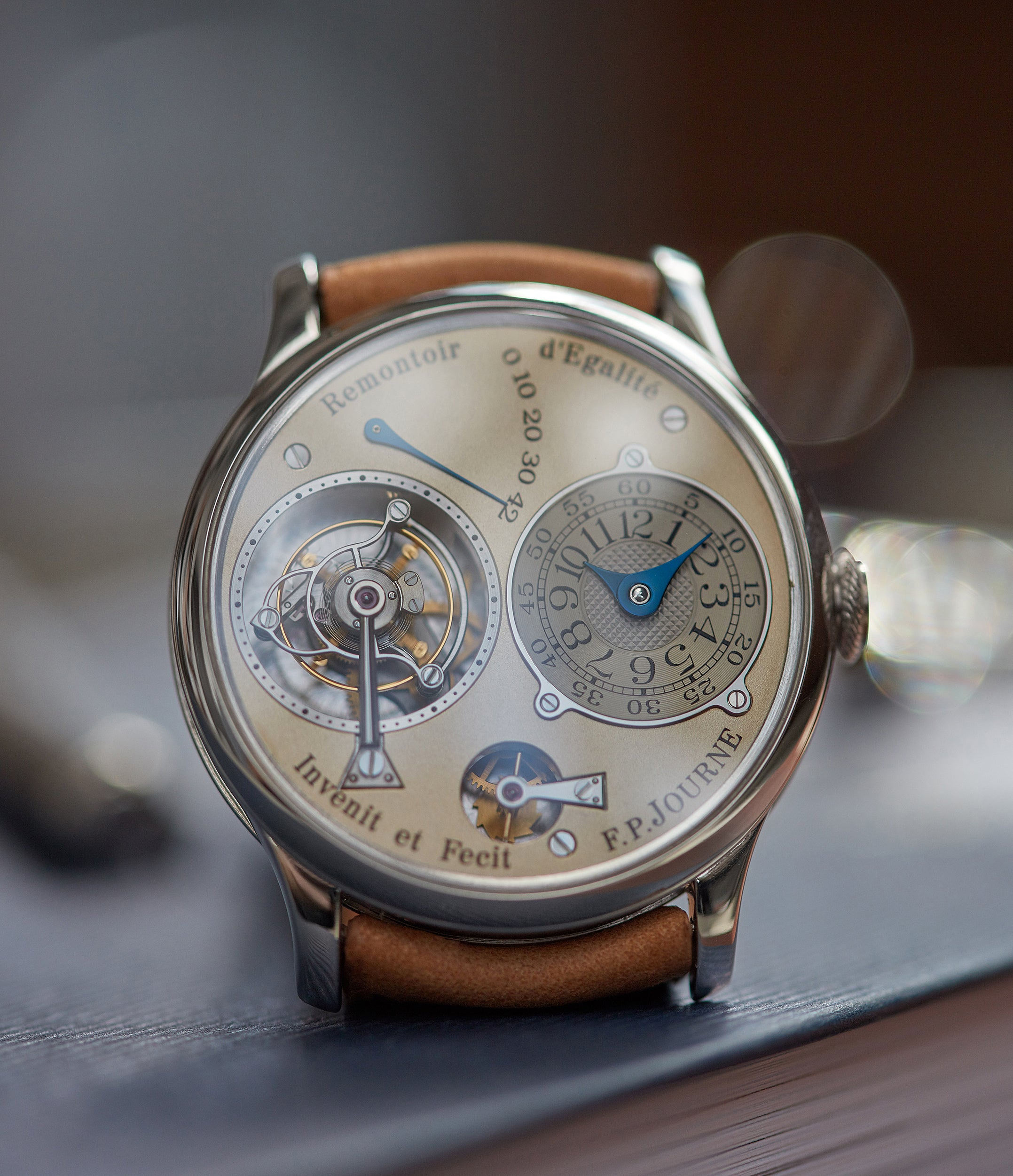 while gold dial F. P. Journe Chronometre A Tourbillon early brass movement 38mm platinum dress watch for sale online A Collected Man London specialist independent watchmakers
