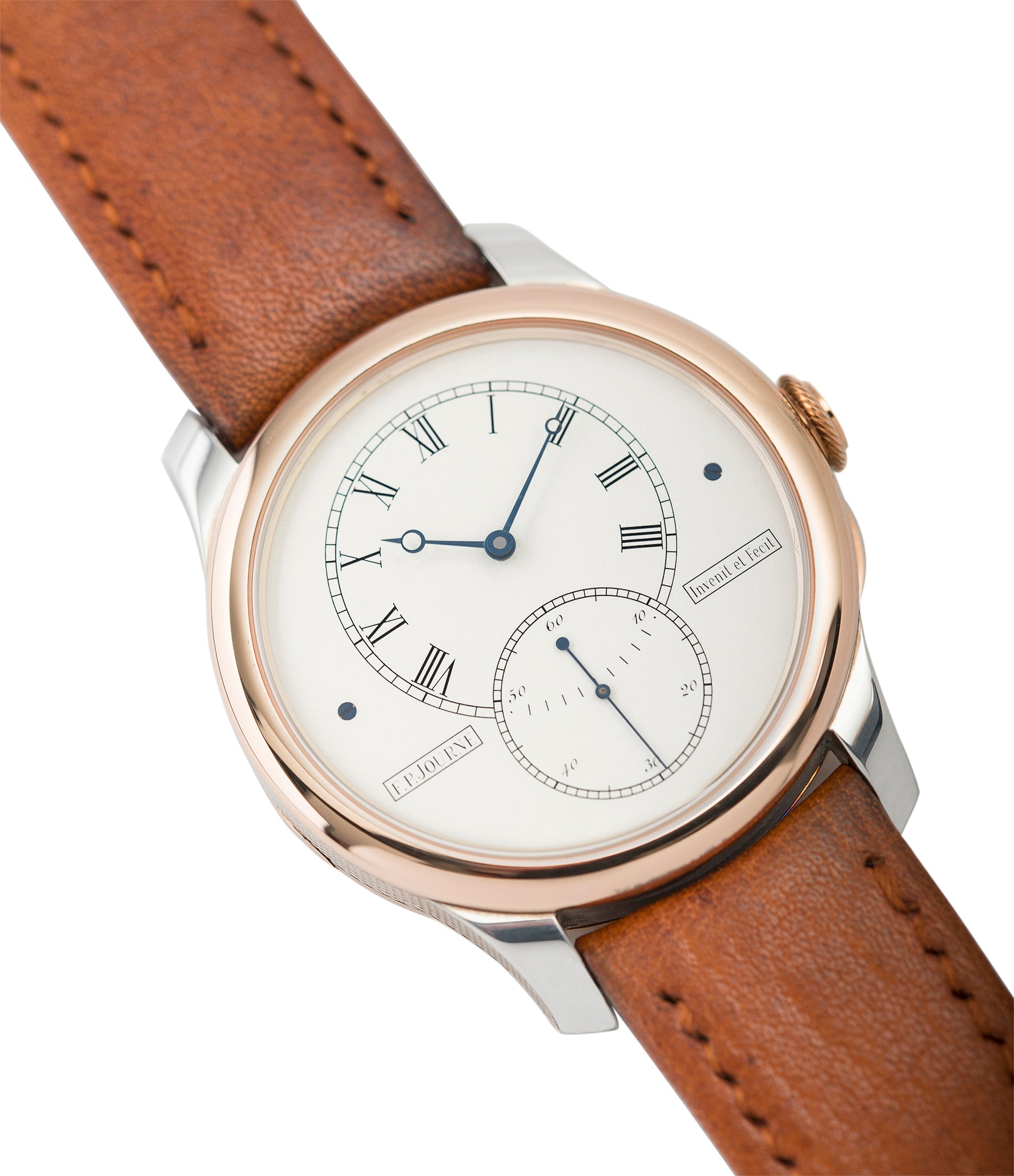 silver and rose gold T30 F. P. Journe Tourbillon Historique Limited Edition of 99 rare duel barrel tourbillon dress watch in rose gold and silver for sale online at A Collected Man London approved seller of independent watchmakers