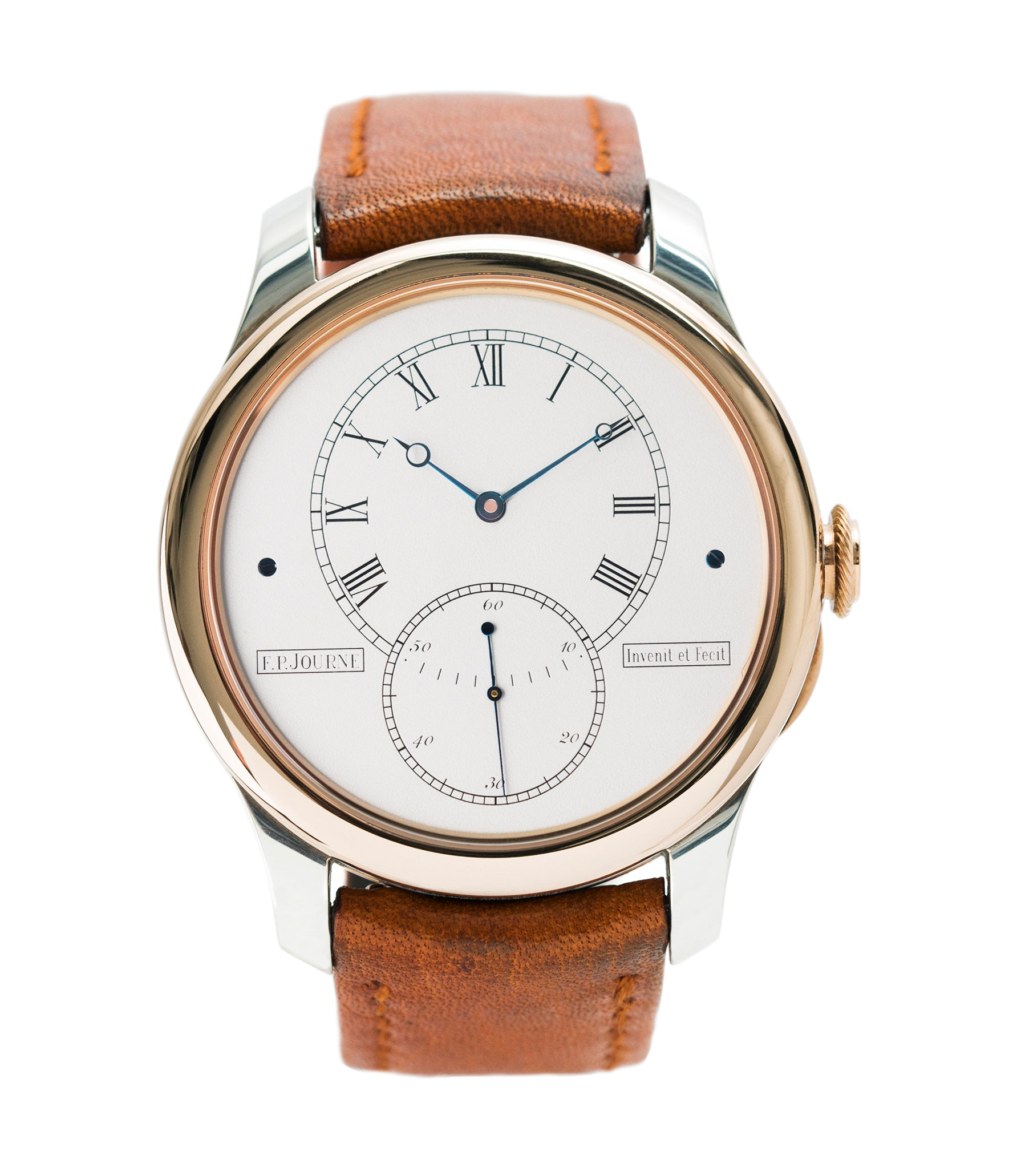 buy F. P. Journe Tourbillon Historique T30 Limited Edition of 99 rare duel barrel tourbillon dress watch in rose gold and silver for sale online at A Collected Man London approved seller of independent watchmakers