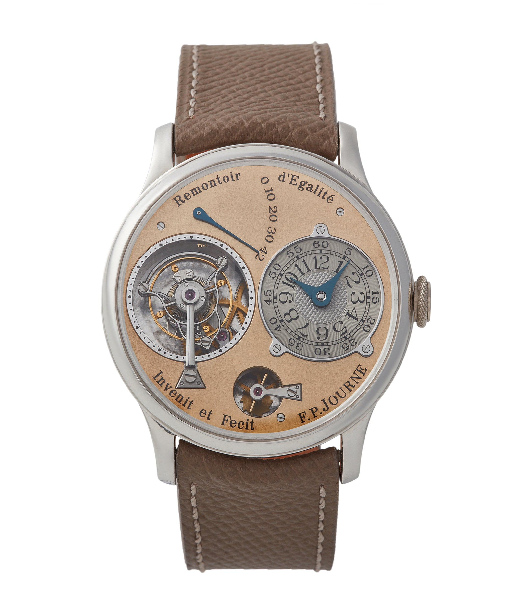 buy F. P. Journe Tourbillon 01T brass movement 38 mm platinum dress watch for sale online at A Collected Man London UK specialist of rare independent watches