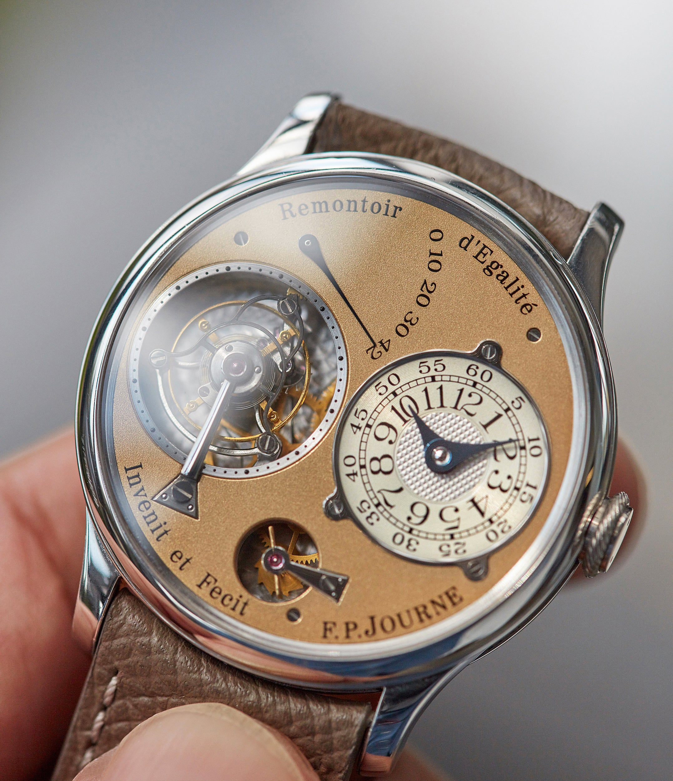 men's collectable wristwatch 01T Tourbillon F. P. Journe brass movement 38 mm platinum dress watch for sale online at A Collected Man London UK specialist of rare independent watches