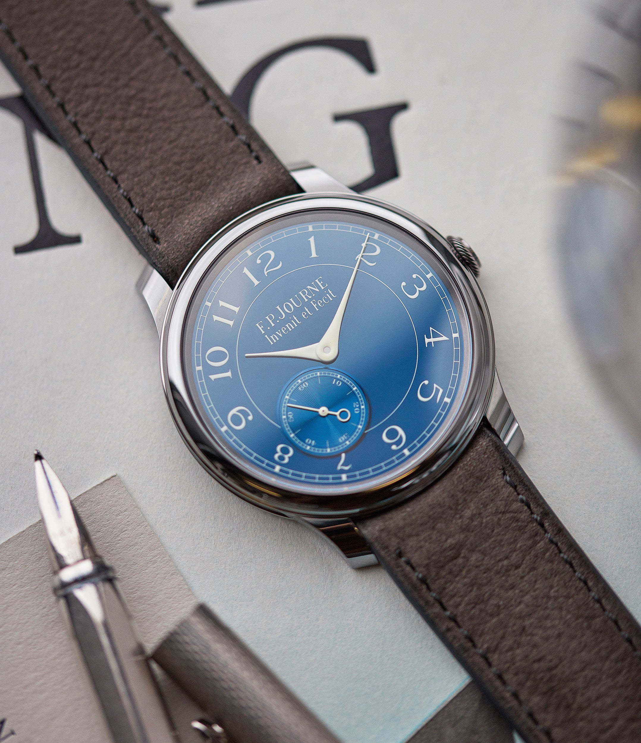 full set F. P. Journe Chronometre Bleu tantalum blue dial rare dress watch for sale online at A Collected Man London approved reseller of independent watchmakers