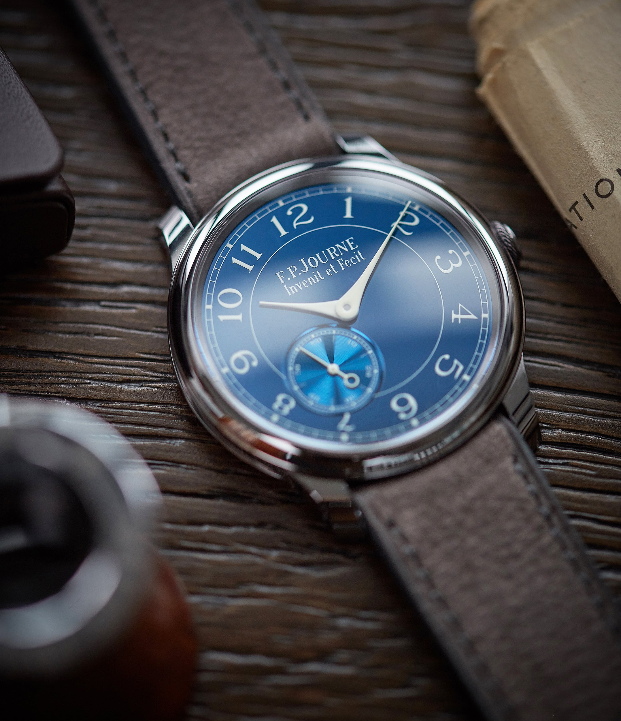 selling F. P. Journe Chronometre Bleu tantalum blue dial rare dress watch for sale online at A Collected Man London approved reseller of independent watchmakers