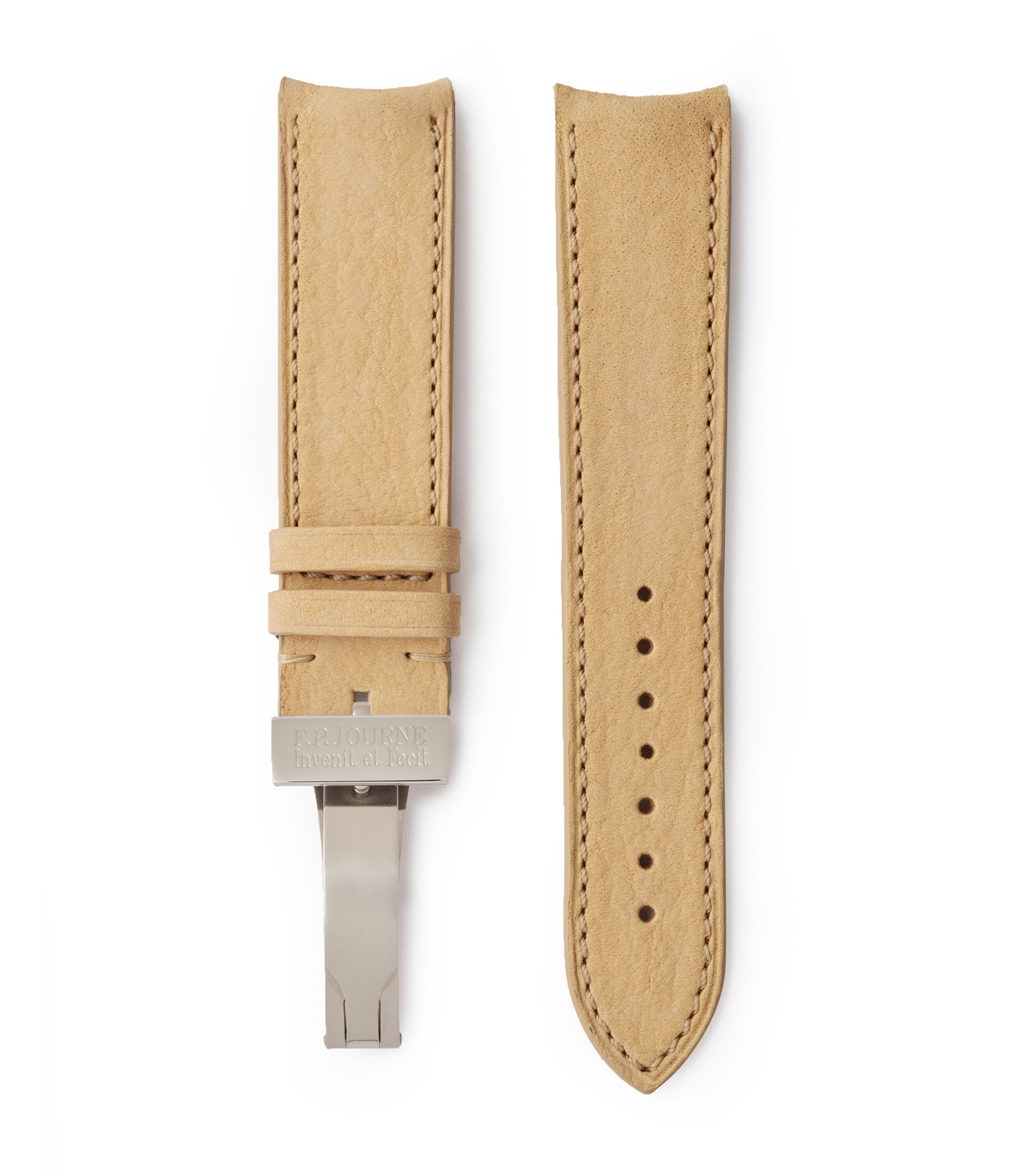 buy Capri 20x19mm curved F. P. Journe-sized sand nubuck leather watch strap for sale online at A Collected Man London