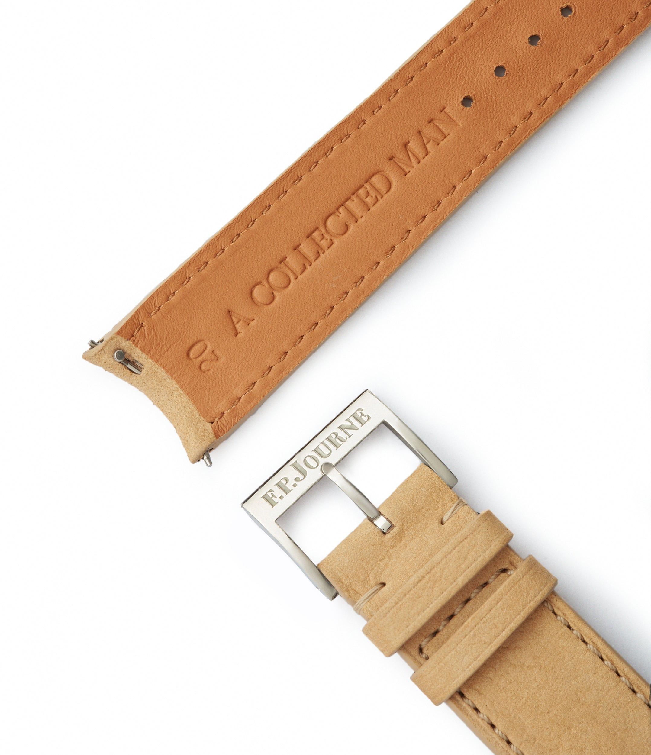 order Capri 20x19mm curved F. P. Journe-sized sand nubuck leather watch strap for sale online at A Collected Man London
