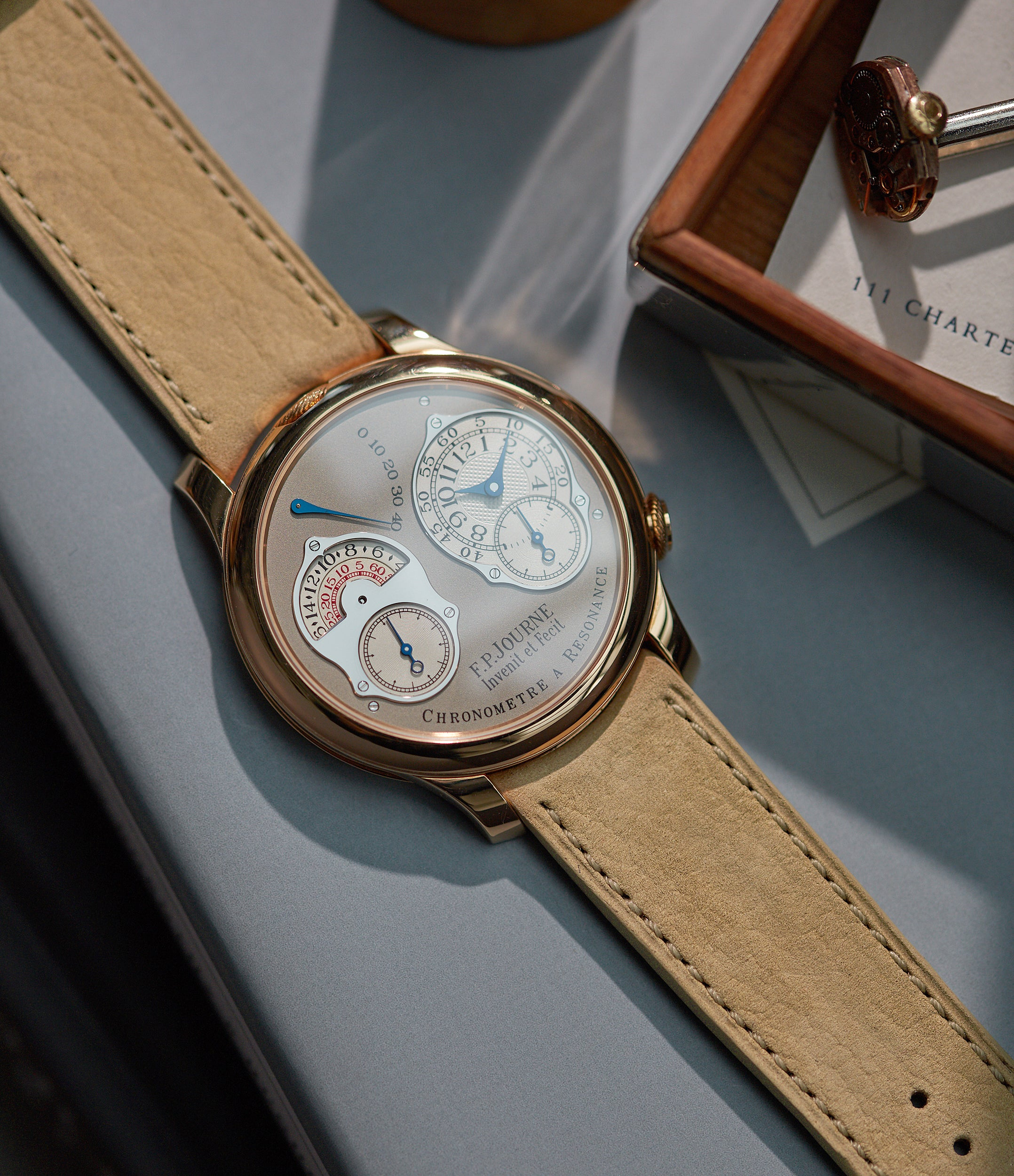 shop F. P. Journe-sized Capri 20x19mm curved sand nubuck leather watch strap for sale online at A Collected Man London