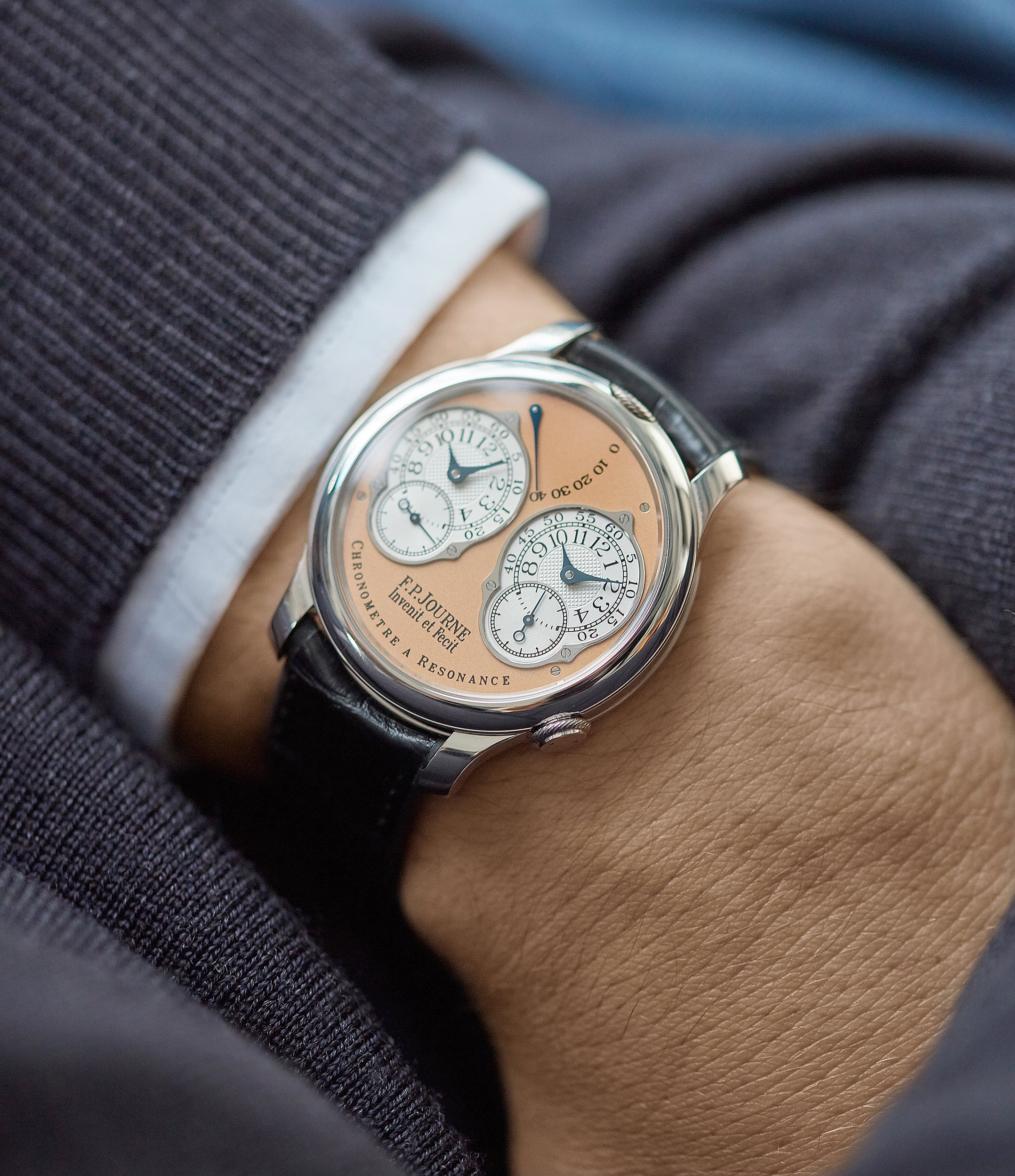 on the wrist F. P. Journe Chronometre a Resonance platinum watch gold movement for sale online at A Collected Man London Uk specialist of independent watchmakers
