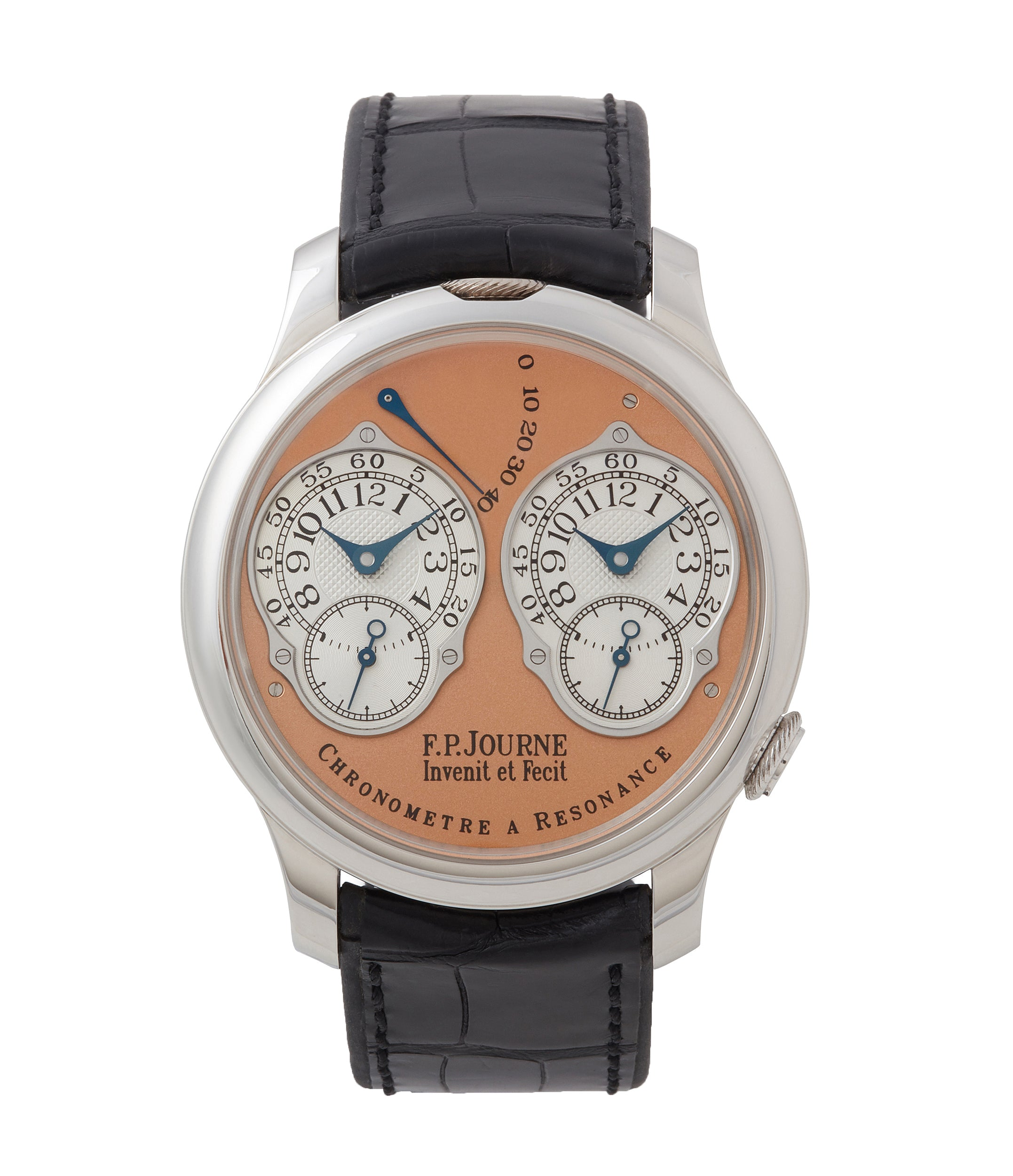 buy F. P. Journe Chronometre a Resonance platinum watch gold movement for sale online at A Collected Man London Uk specialist of independent watchmakers