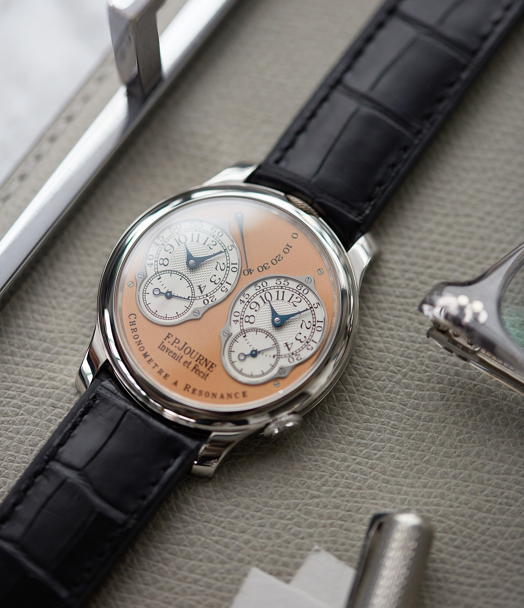 selling F. P. Journe Chronometre a Resonance platinum watch gold movement for sale online at A Collected Man London Uk specialist of independent watchmakers