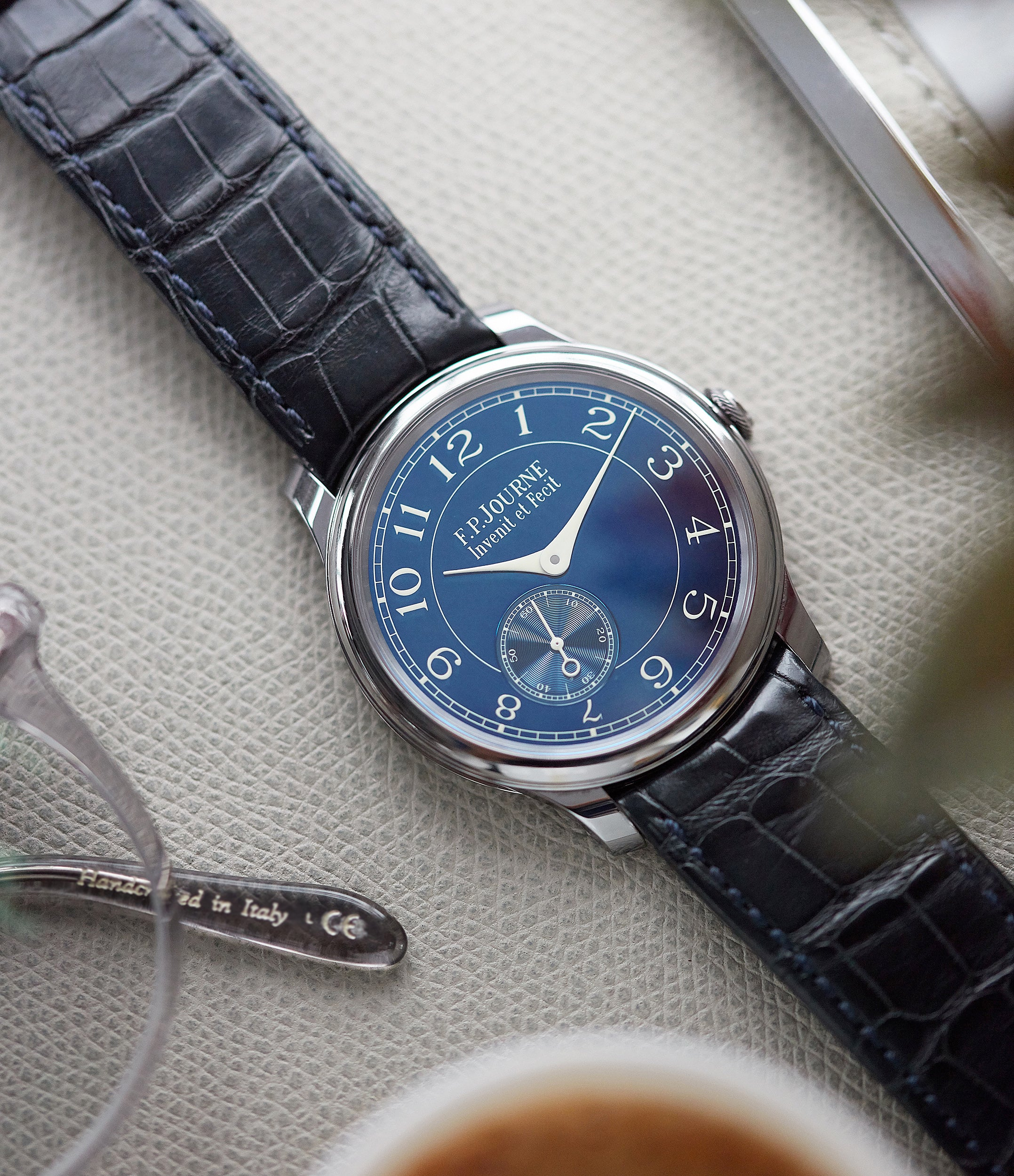 blue dial pre-owned F. P. Journe Chronometre Bleu tantalum rare dress watch for sale online at A Collected Man London approved reseller of independent watchmakers