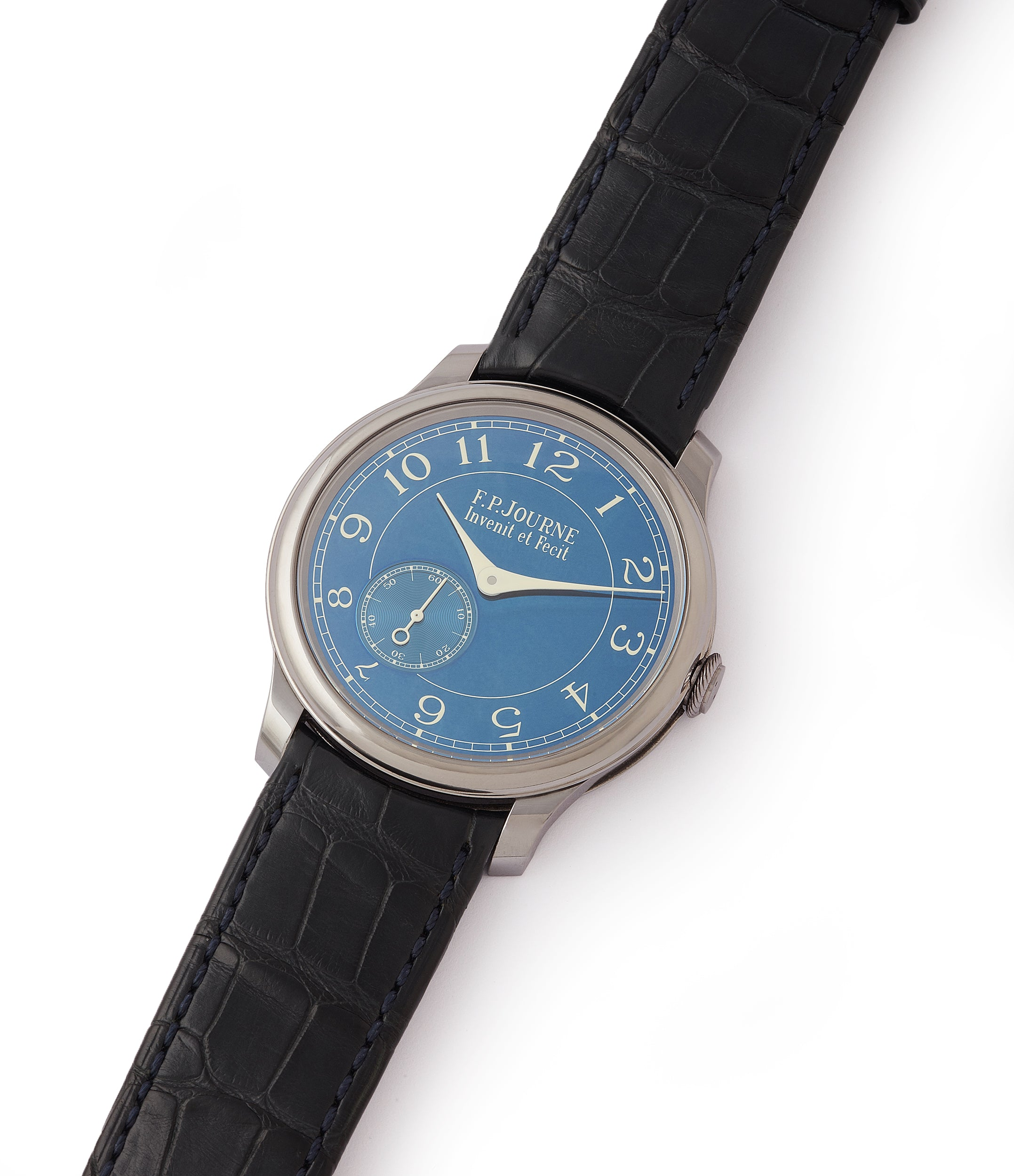 shop pre-owned F. P. Journe Chronometre Bleu tantalum blue dial rare dress watch for sale online at A Collected Man London approved reseller of independent watchmakers
