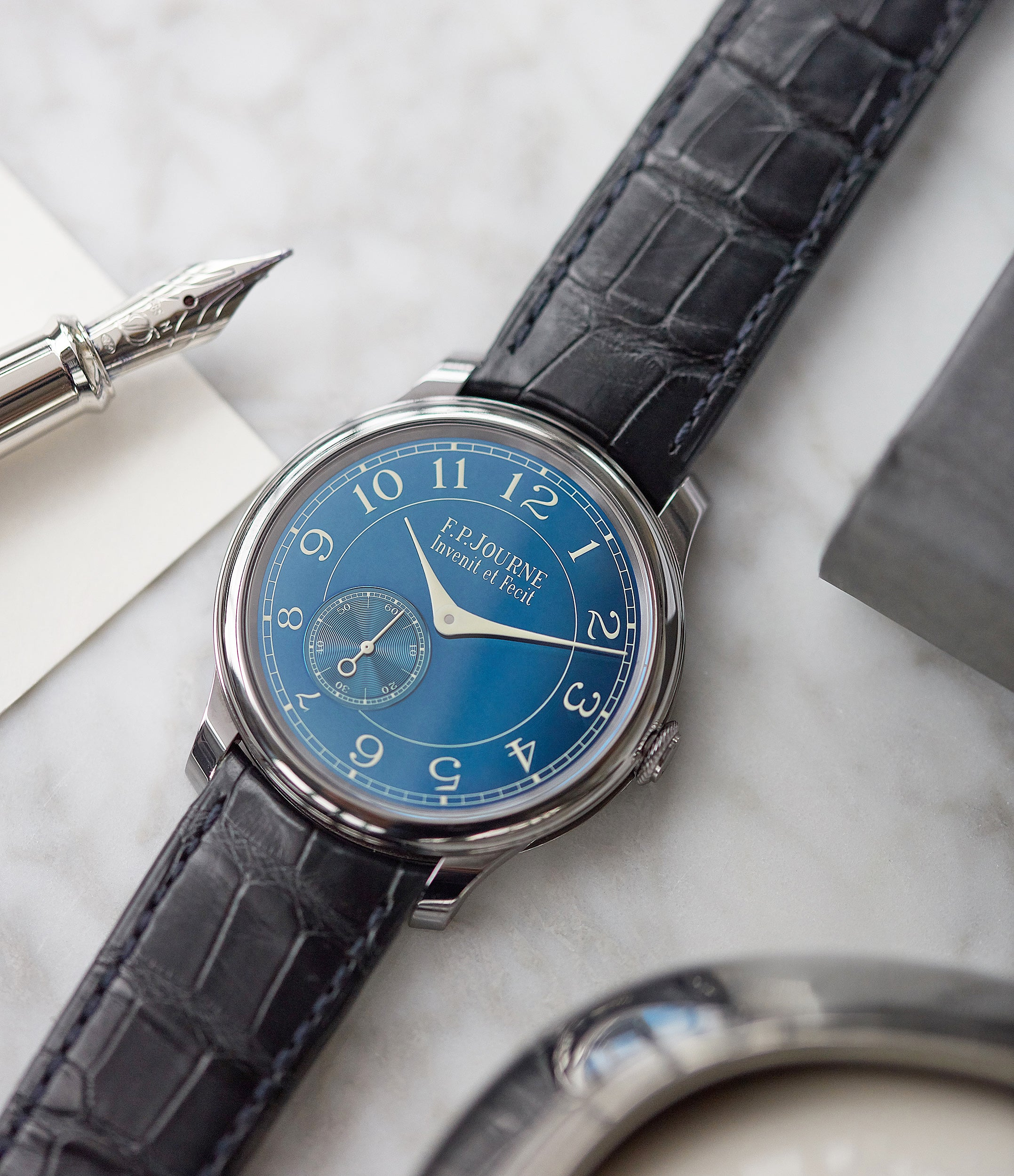 pre-owned F. P. Journe Chronometre Bleu tantalum blue dial rare dress watch for sale online at A Collected Man London approved reseller of independent watchmakers