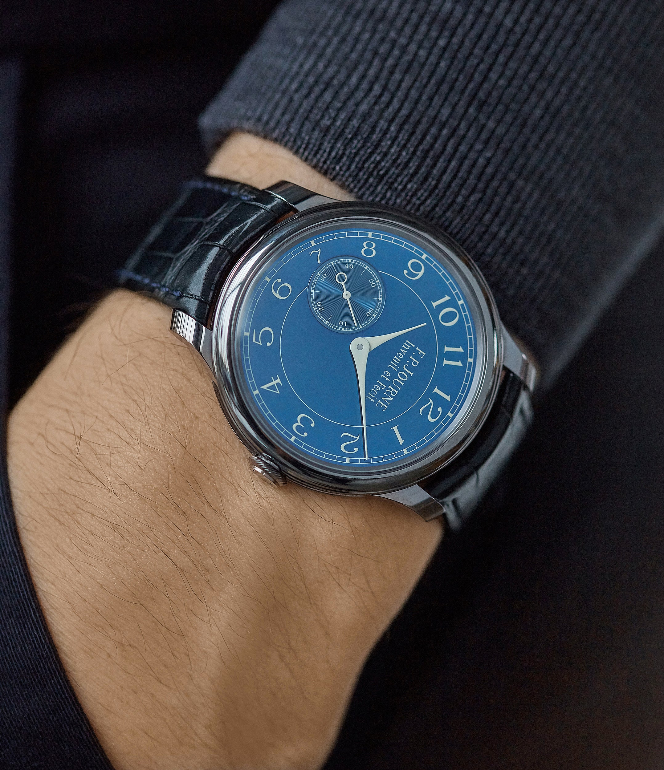 luxury pre-owned watch F. P. Journe Chronometre Bleu tantalum blue dial rare dress watch for sale online at A Collected Man London approved reseller of independent watchmakers