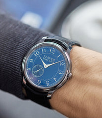 buy F. P. Journe Chronometre Bleu tantalum blue dial rare dress watch for sale online at A Collected Man London approved reseller of independent watchmakers