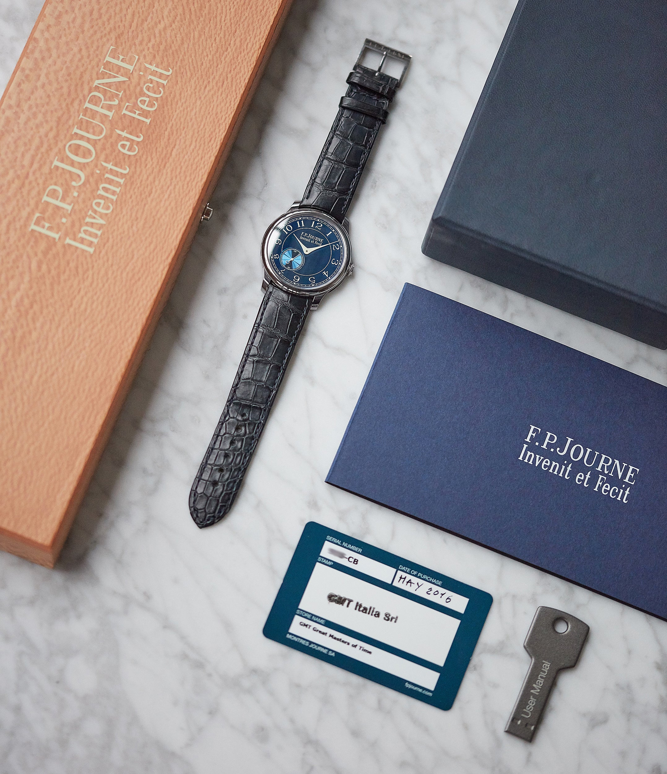 full set pre-owned F. P. Journe Chronometre Bleu tantalum blue dial rare dress watch for sale online at A Collected Man London approved reseller of independent watchmakers