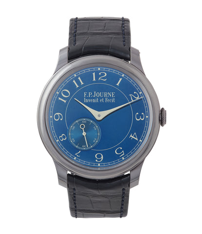 buy pre-owned F. P. Journe Chronometre Bleu tantalum blue dial rare dress watch for sale online at A Collected Man London approved reseller of independent watchmakers