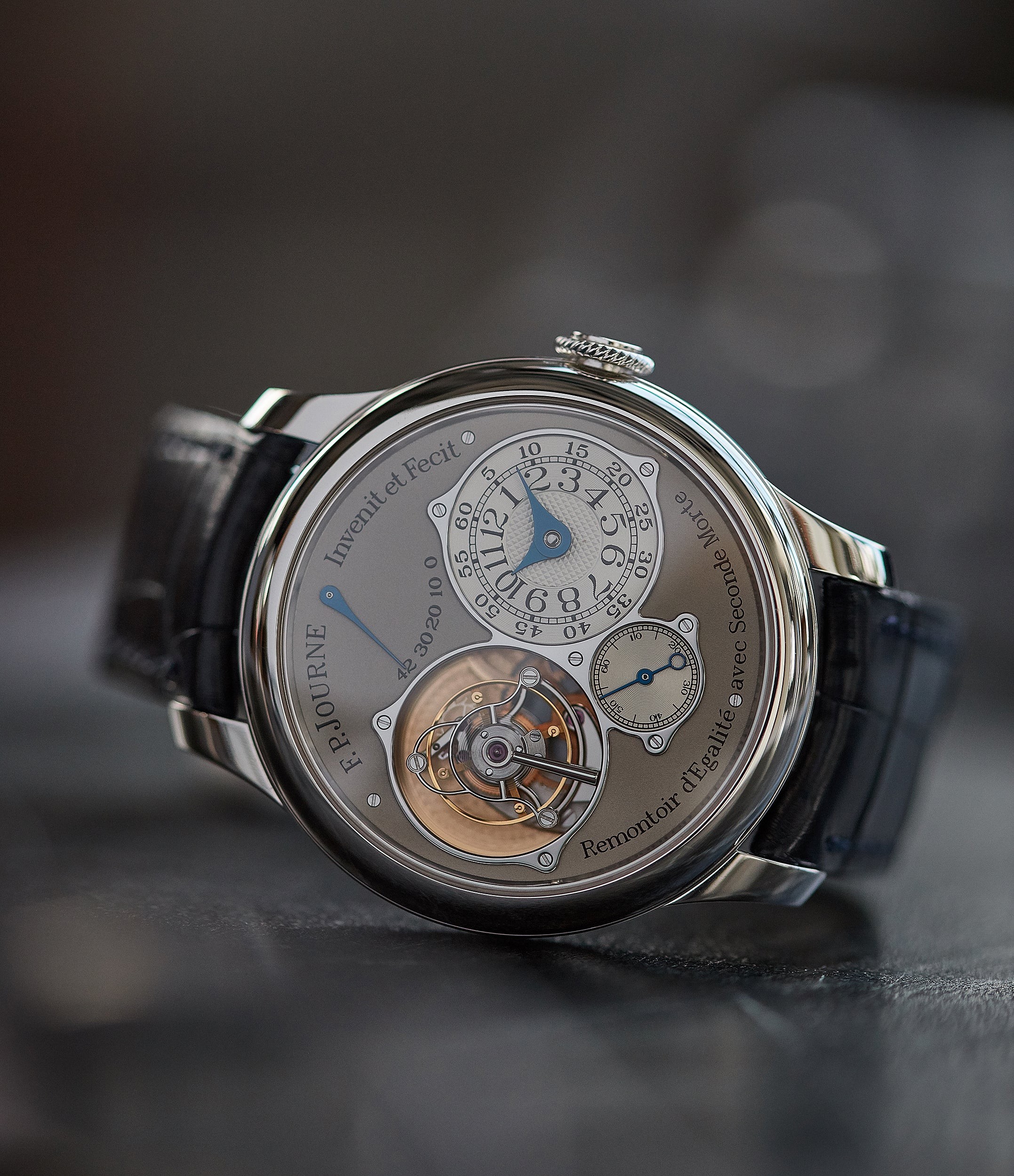pre-owned F. P. Journe Tourbillon Souverain TN dead-beat seconds 40mm platinum watch for sale online at A Collected Man London UK specialist of rare watches