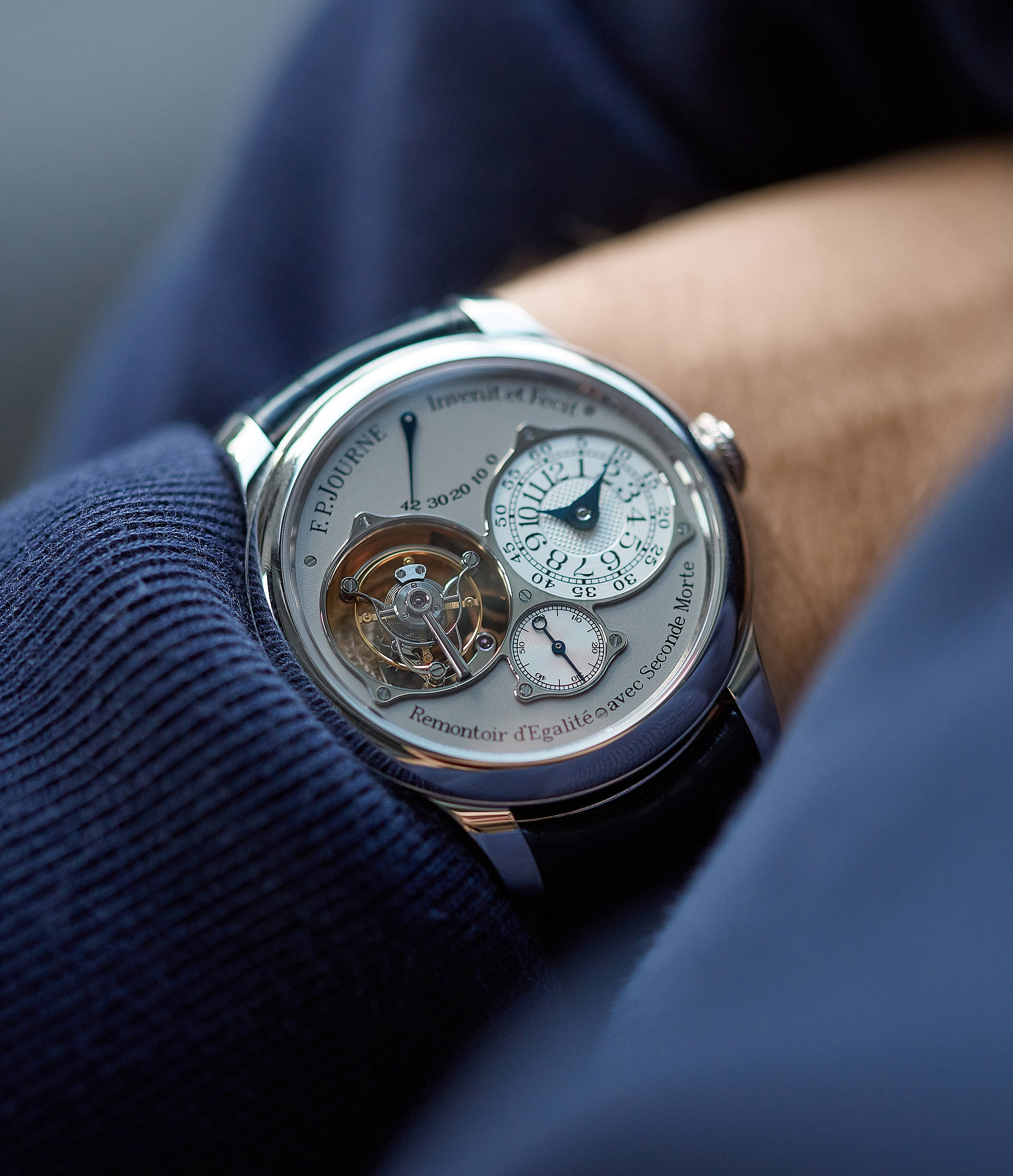 men's rare wristwatch F. P. Journe Tourbillon Souverain TN dead-beat seconds 40mm platinum pre-owned watch for sale online at A Collected Man London UK specialist of rare watches