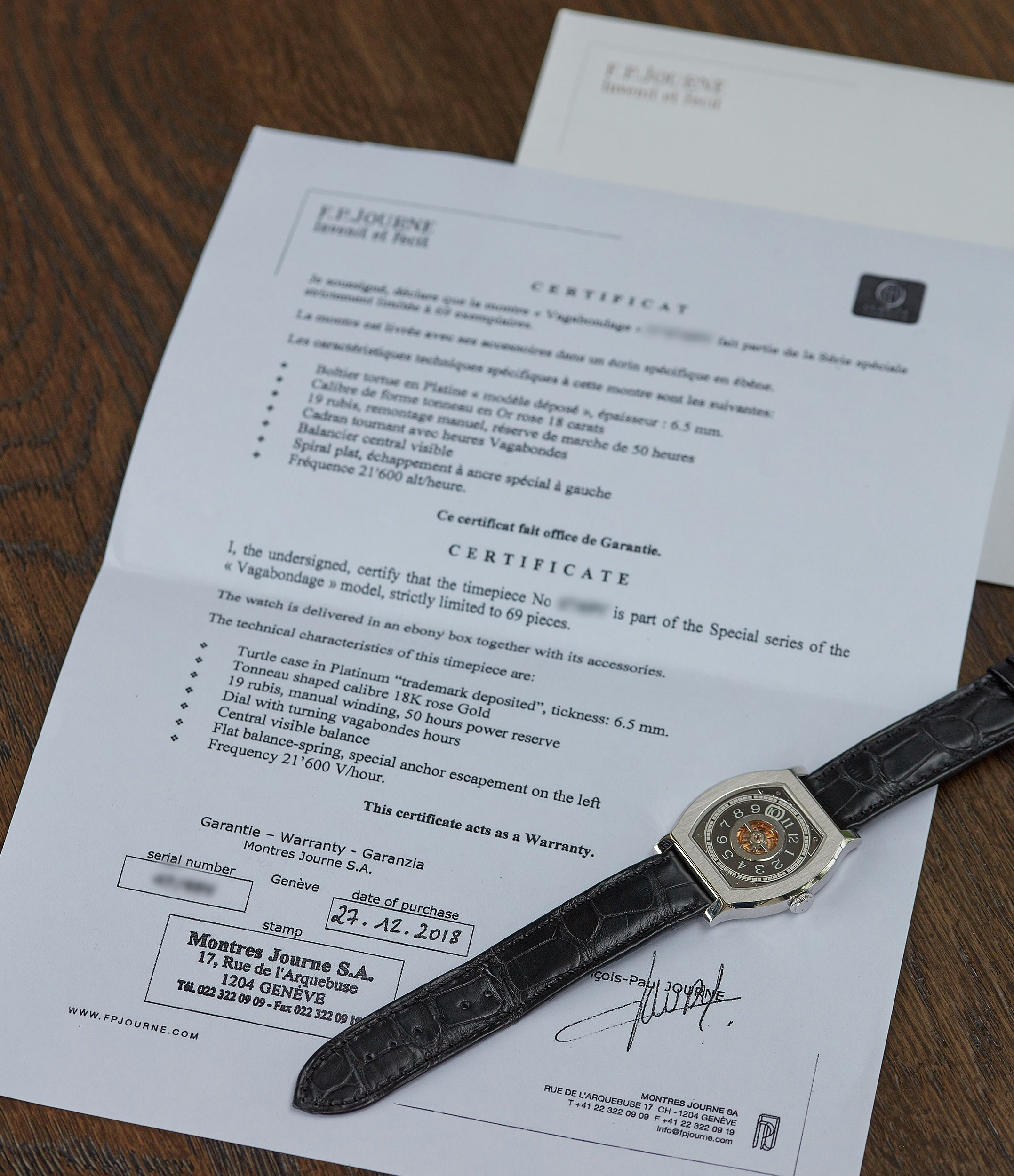 selling F. P. Journe Vagabondage three watch set platinum case Vagabondage 1-2-3 for sale online at A Collected Man London UK specialist of rare watches