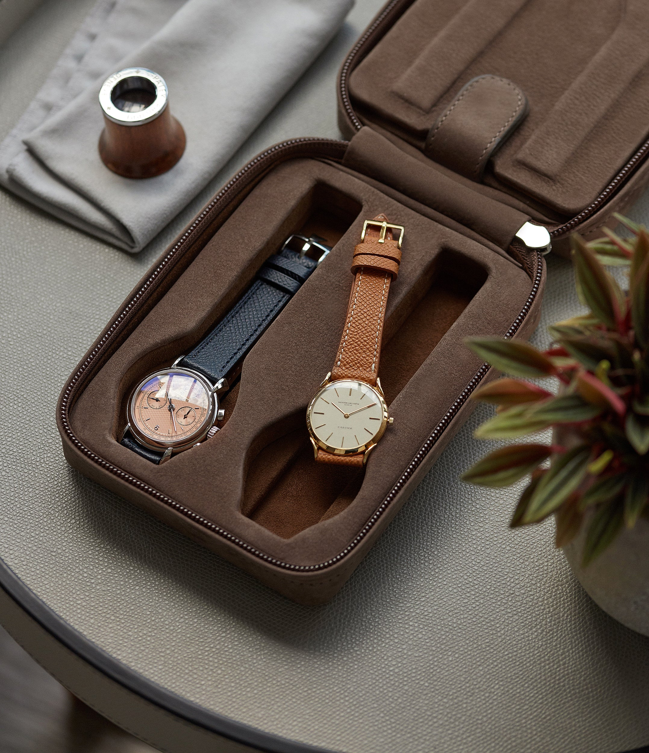 taupe nubuck watch case holder accessories four watches order online A Collected Man London