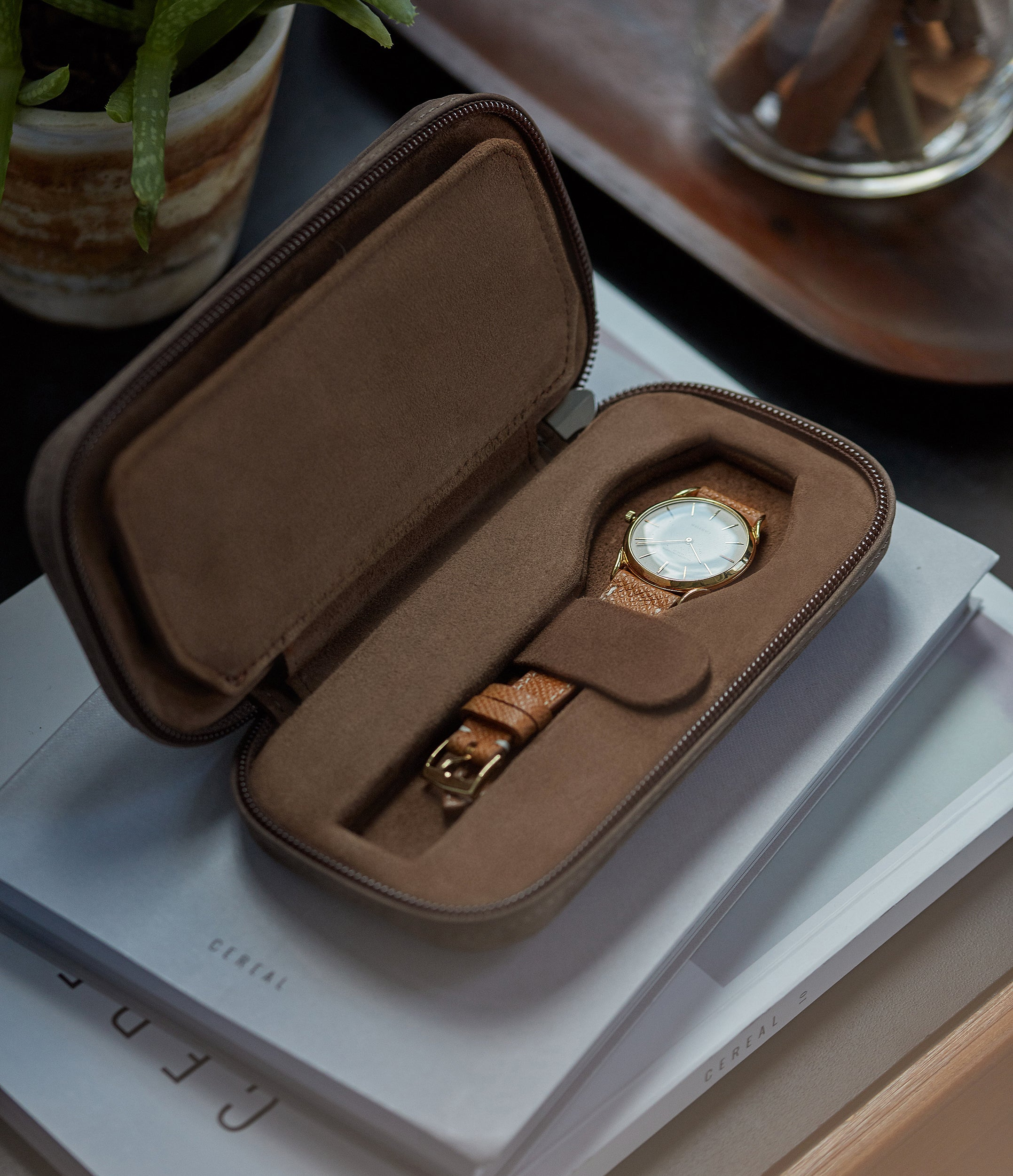 taupe buffalo watch travel zip pouch accessories for two watches order online A Collected Man London