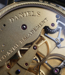 co-axial movement George Daniels Anniversary watch by Roger W. Smith independent watchmaker yellow gold rare watch for sale online WATCH XCHANGE London with signed papers
