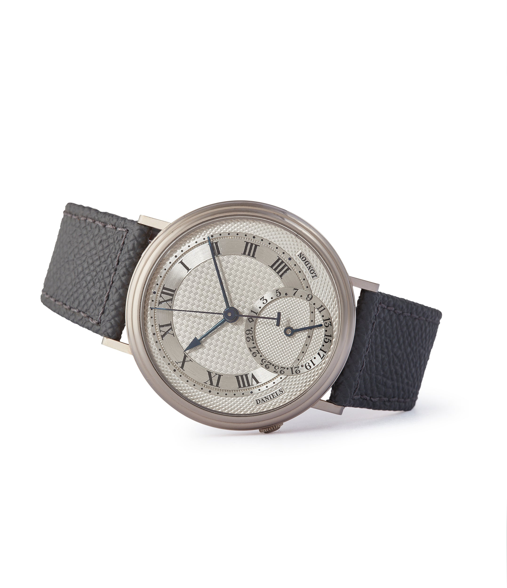 side-shot Daniels Millennium wristwatch white gold The Aviator British independent watchmaker Isle of Man for sale online at A Collected Man London specialist of rare watches