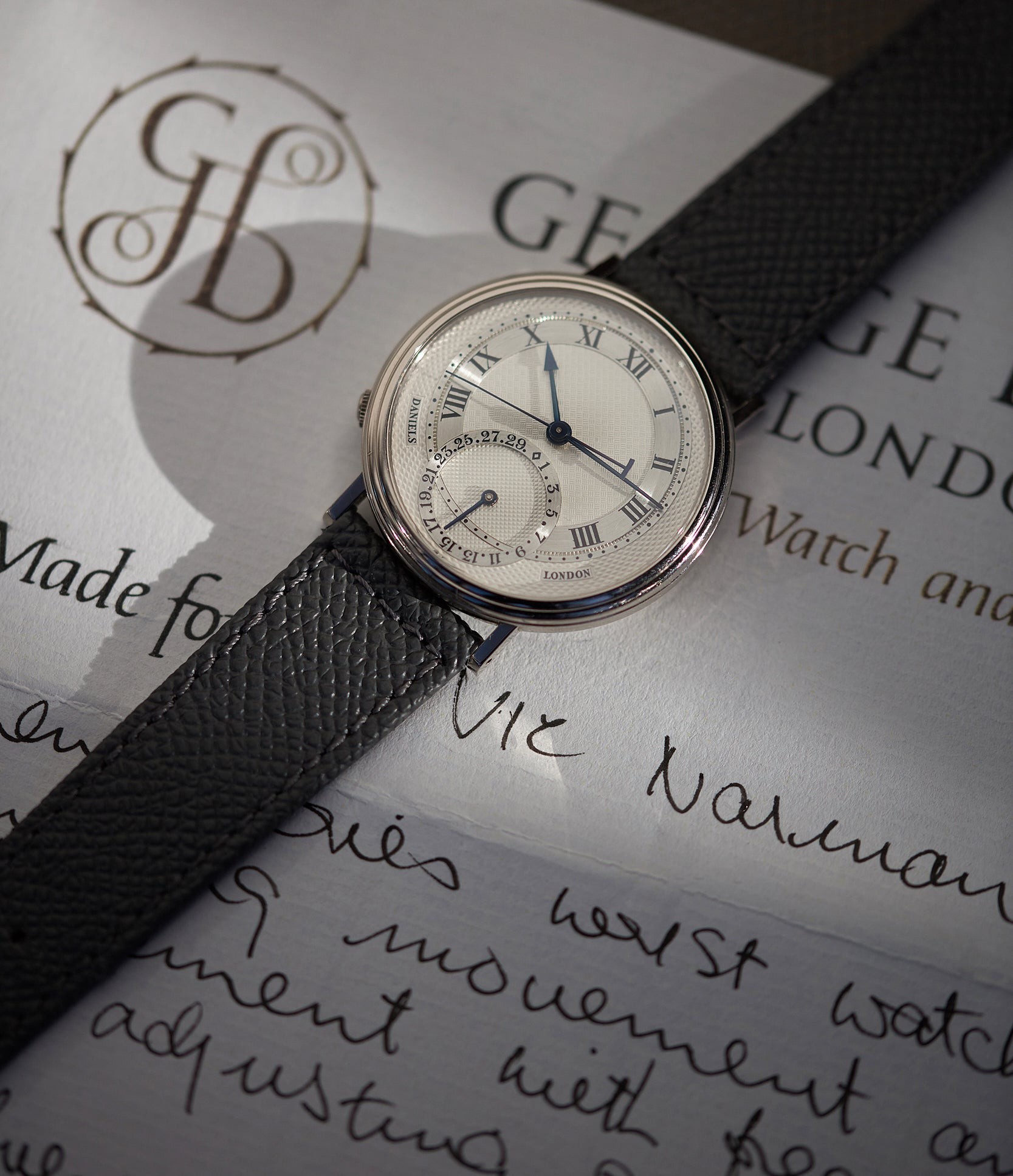rare dress watch George Daniels Millennium wristwatch white gold The Aviator British independent watchmaker Isle of Man for sale online at A Collected Man London specialist of rare watches