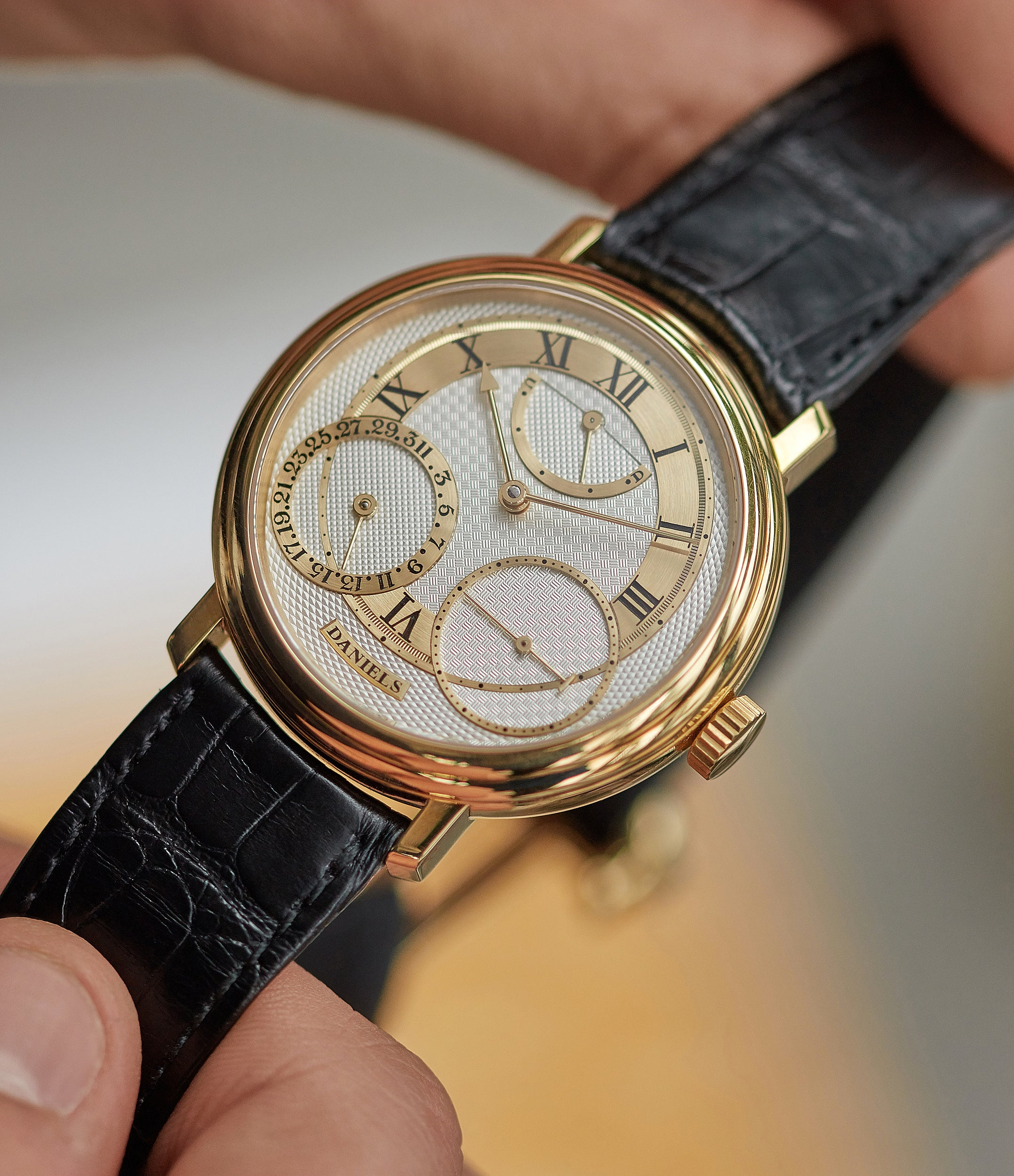 hands-on with George Daniels Anniversary watch by Roger W. Smith independent watchmaker yellow gold rare watch for sale online A Collected Man London with signed papers