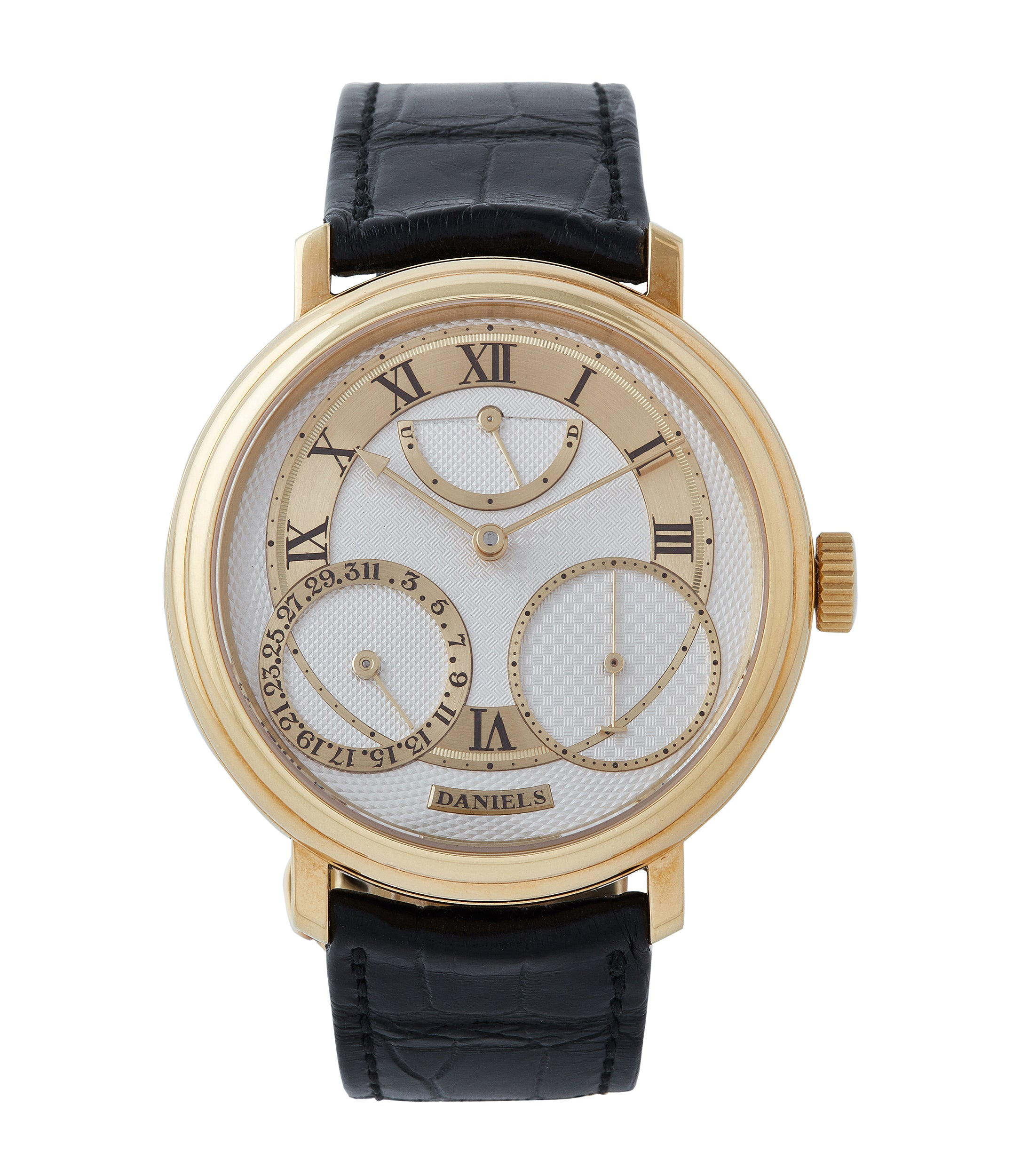 buy George Daniels Anniversary watch by Roger W. Smith independent watchmaker yellow gold rare watch for sale online A Collected Man London with signed papers