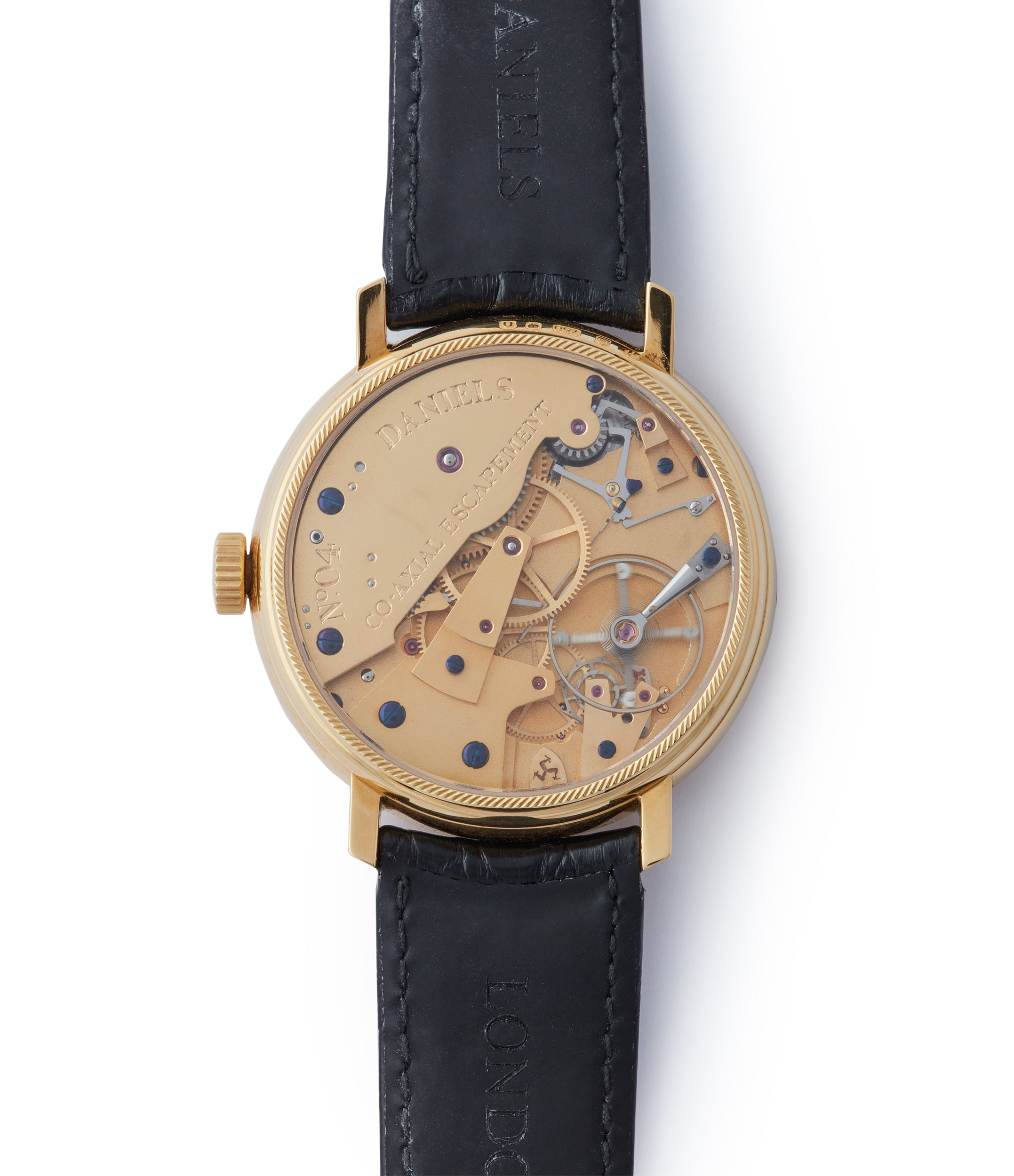 manual-winding George Daniels Anniversary watch by Roger W. Smith independent watchmaker yellow gold rare watch for sale online A Collected Man London with signed papers