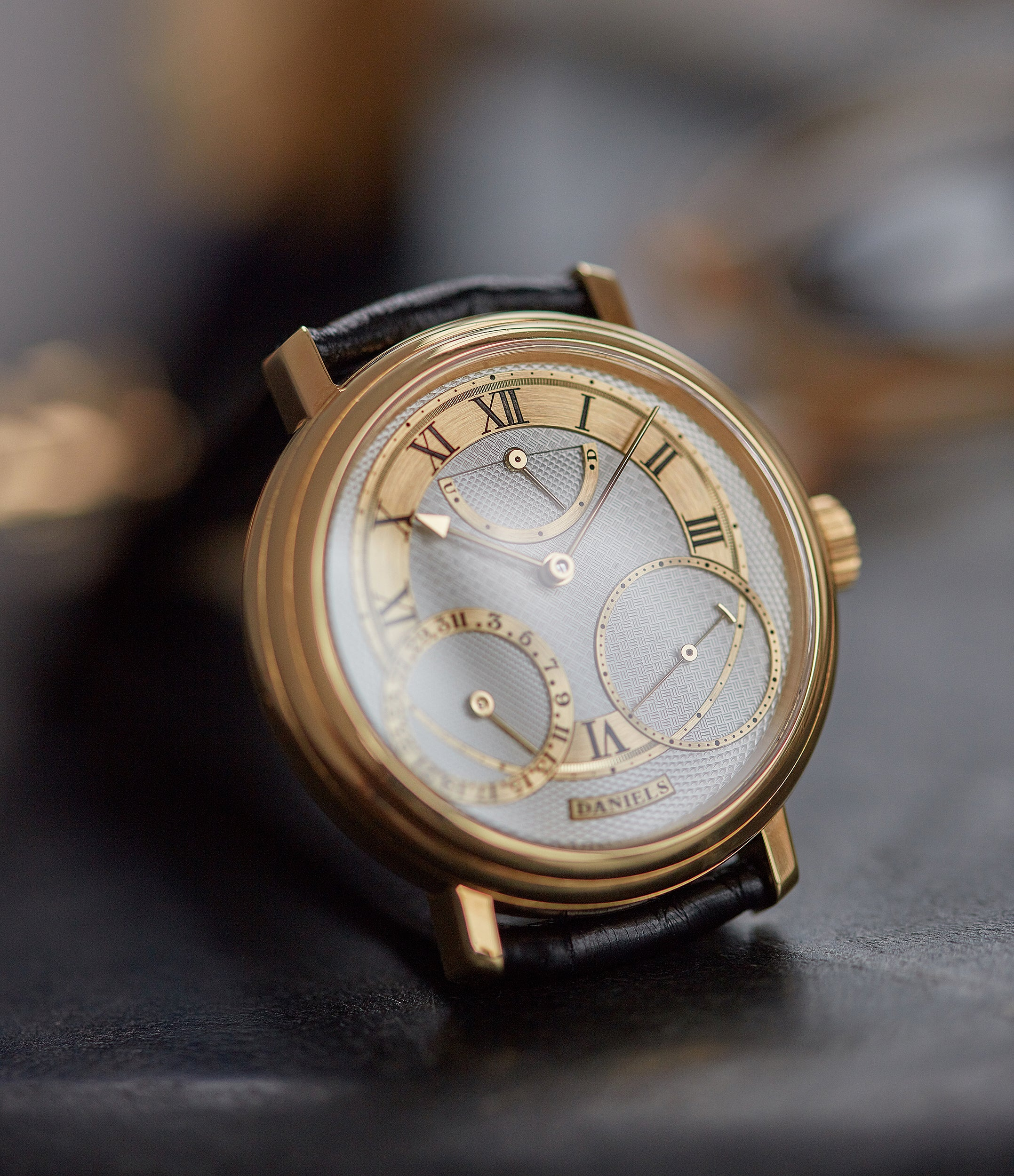 for sale George Daniels Anniversary watch by Roger W. Smith independent watchmaker yellow gold rare watch for sale online A Collected Man London with signed papers
