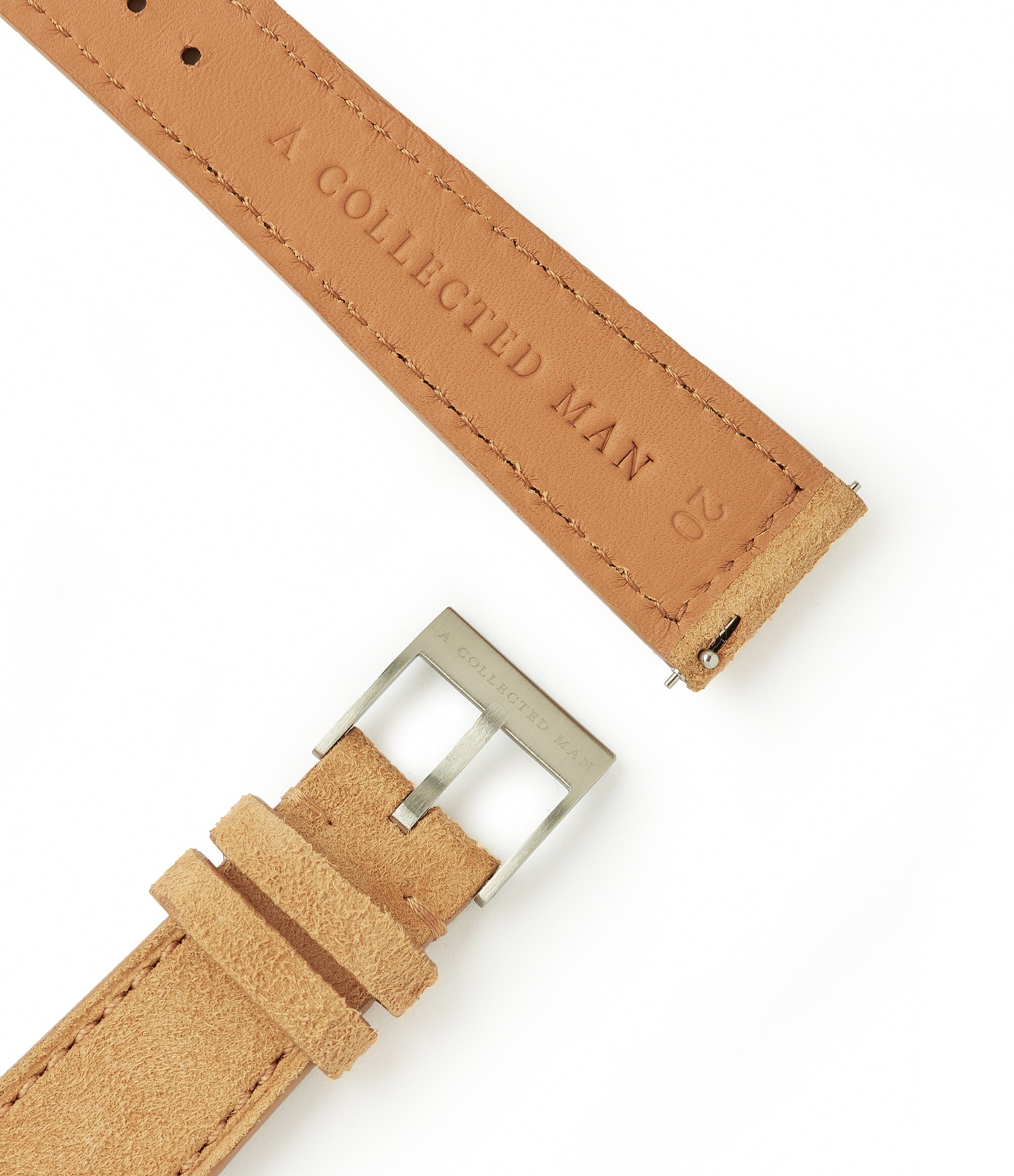 light tan suede boxed stitched Granada watch strap 21mm lug width order online at A Collected Man London