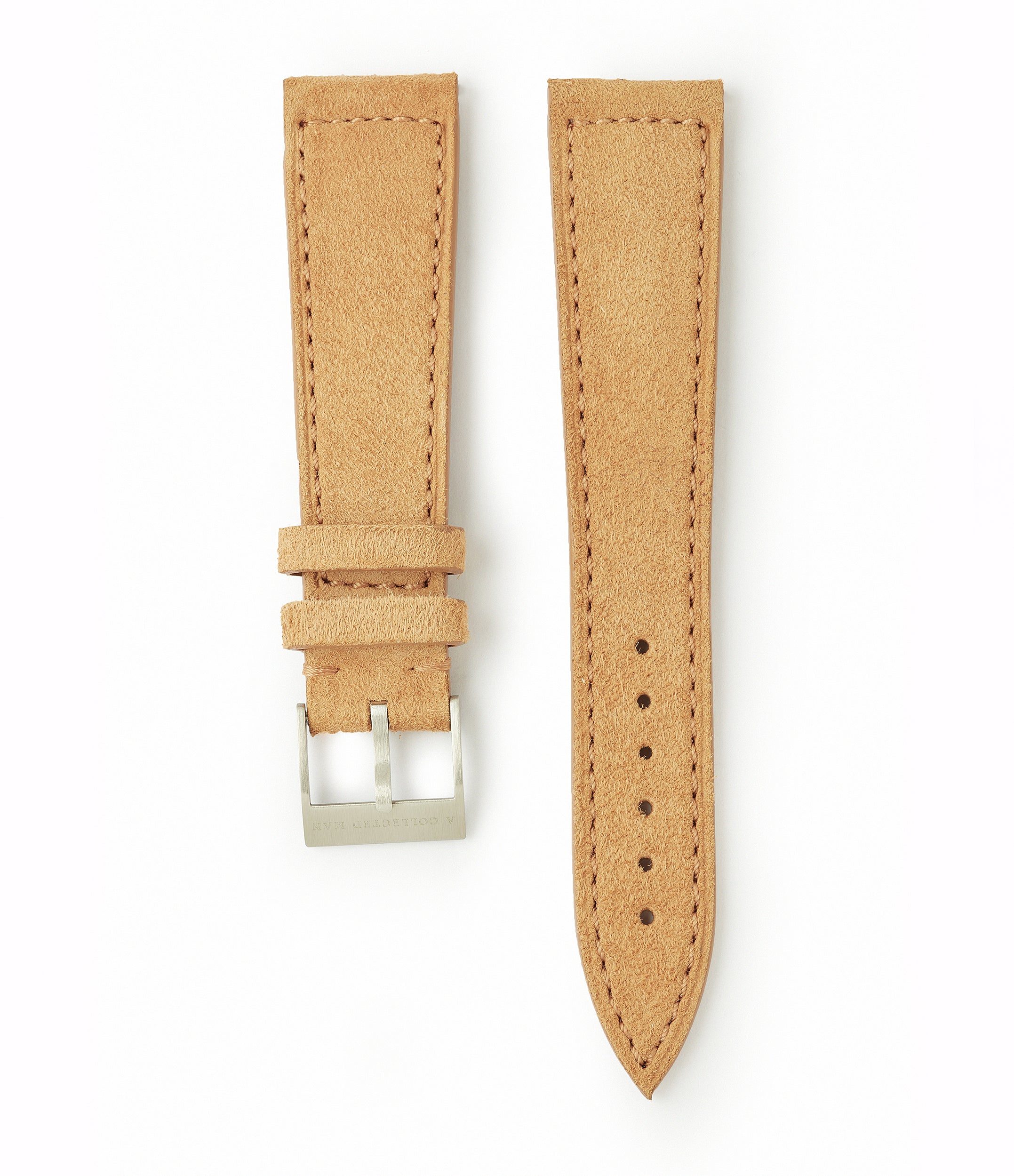 light tan suede boxed stitched Granada watch strap 19mm lug width order online at A Collected Man London