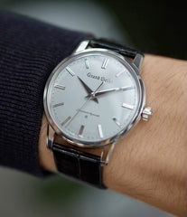 on the wrist Grand Seiko SBGW251 limited edition platinum time-only dress watch Japanese-made full set at A Collected Man London UK specialist of rare watches