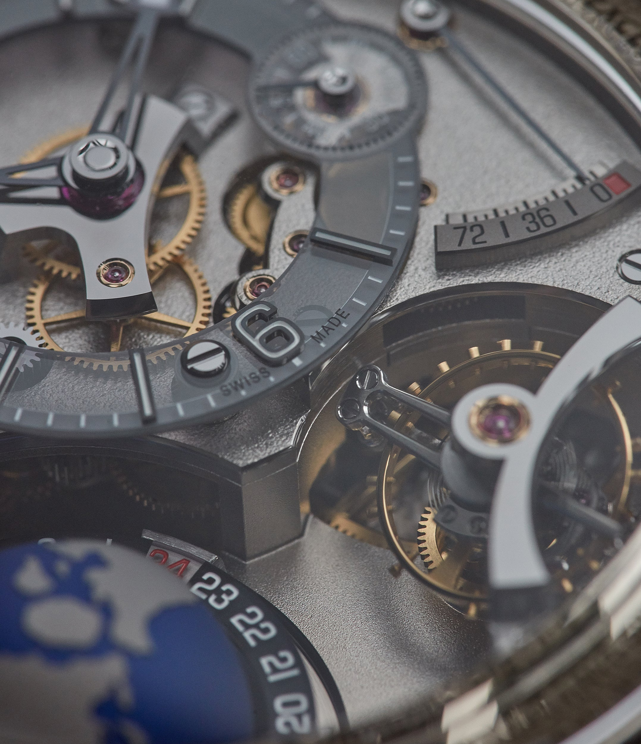 Macro shot of inclined tourbillon in rare, limited edition Greubel Forsey GMT Earth