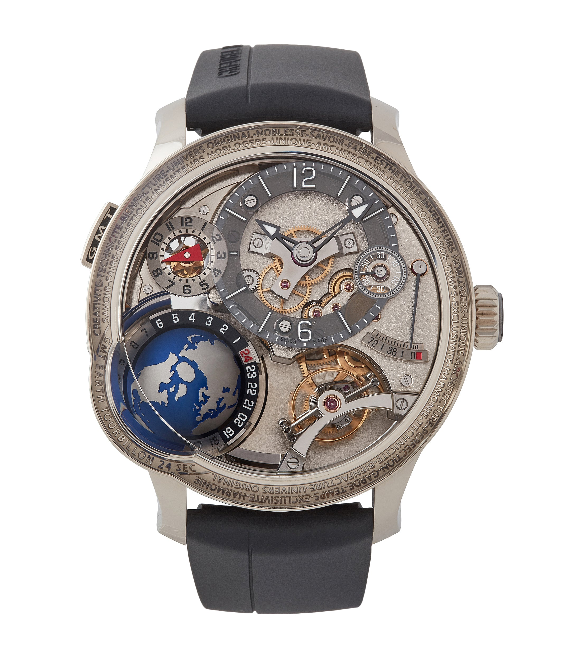 Selling pre-owned rare limited edition GMT Earth in white gold from independent watchmaker Greubel Forsey