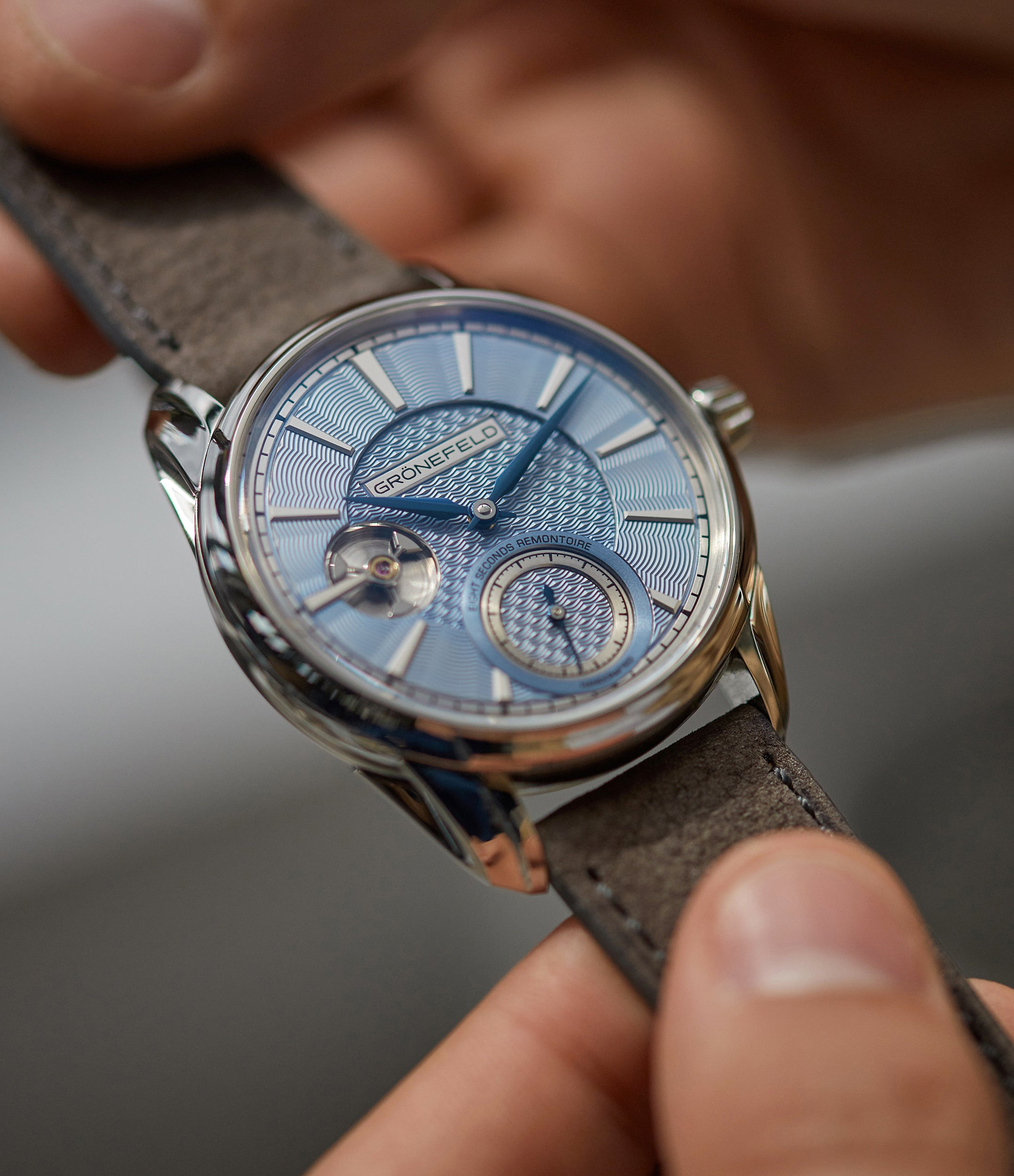 Grönefeld brothers 1941 Remontoire light blue Voutilainen dial eight seconds remontoire time-only dress watch for sale online at A Collected Man London UK specialist of independent watchmakers