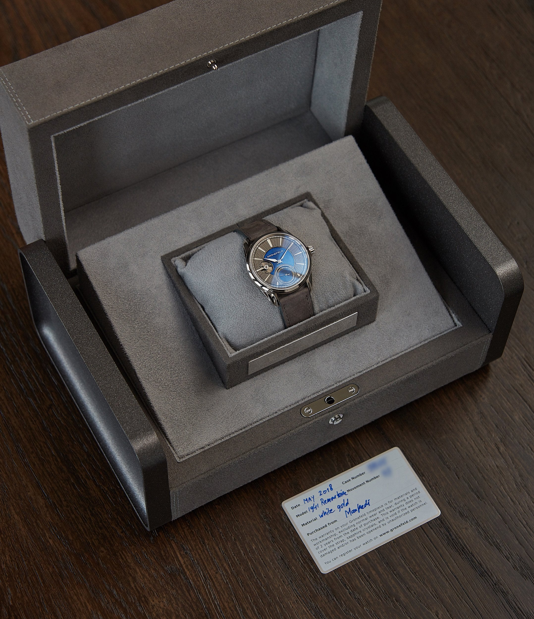 sell Gronefeld 1941 Remontoire blue grey Voutilainen dial pre-owned independent watchmaker for sale online A Collected Man London UK specialist of rare watches