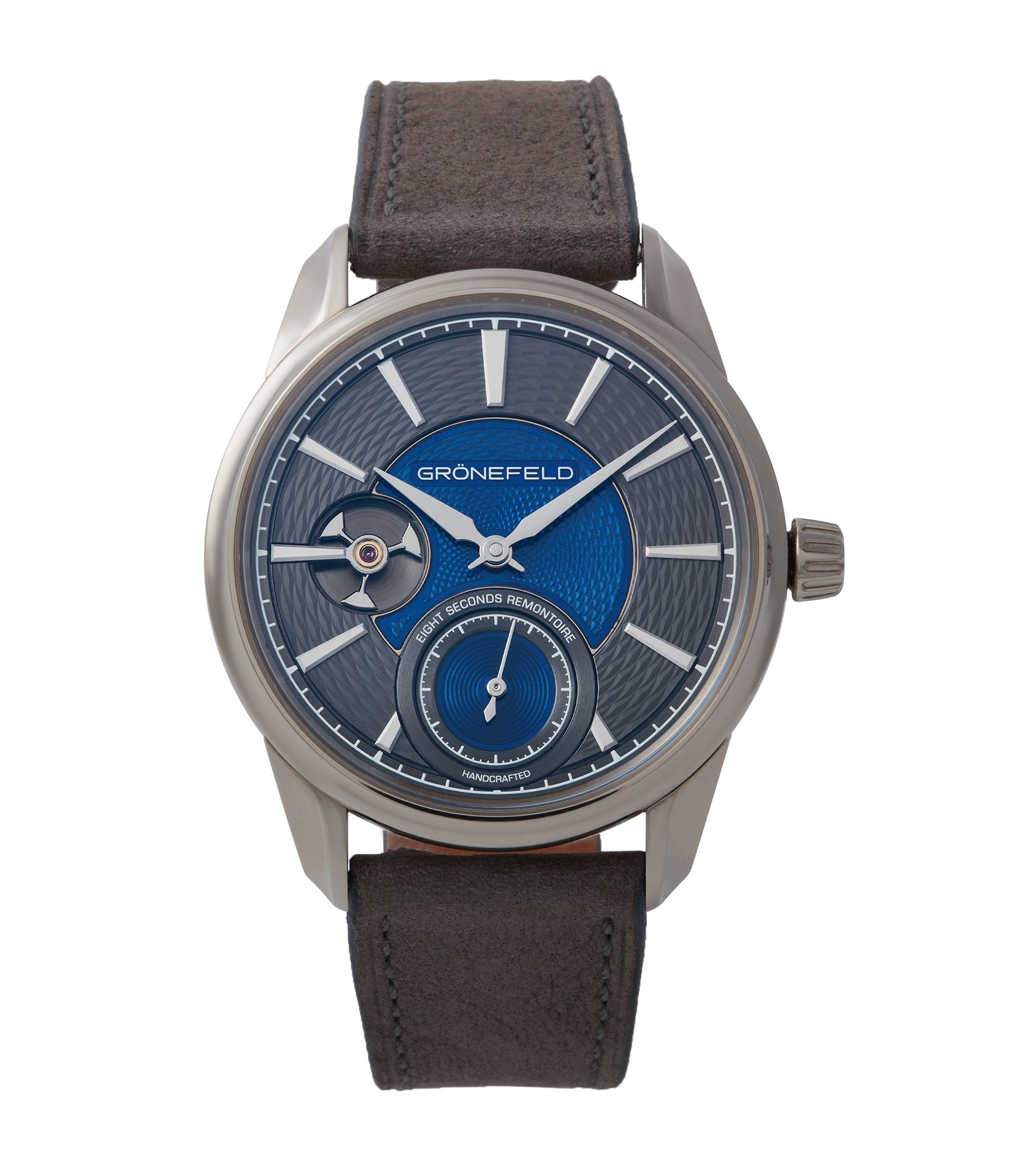 eight -seconds Remontoire Gronefeld 1941 blue grey Voutilainen dial pre-owned for sale online A Collected Man London UK specialist of rare watches