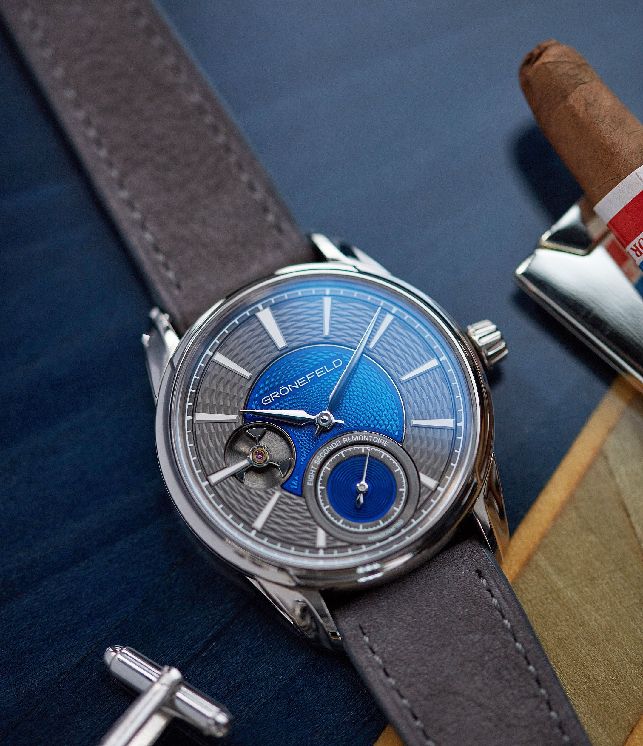 consignment sale Gronefeld 1941 Remontoire blue grey Voutilainen dial pre-owned independent watchmaker for sale online A Collected Man London UK specialist of rare watches